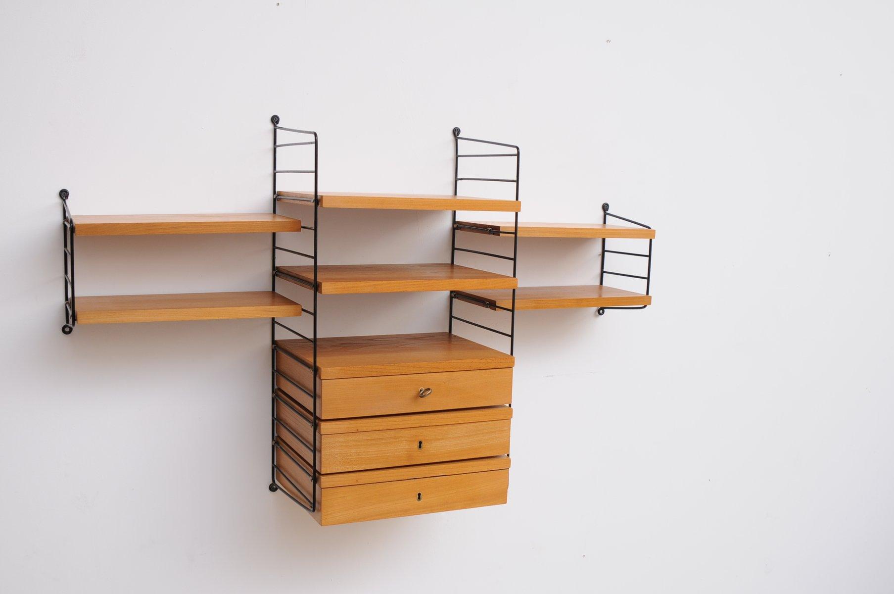 schwedisches vintage kirschholz wandregal von nisse strinning f r string bei pamono kaufen. Black Bedroom Furniture Sets. Home Design Ideas