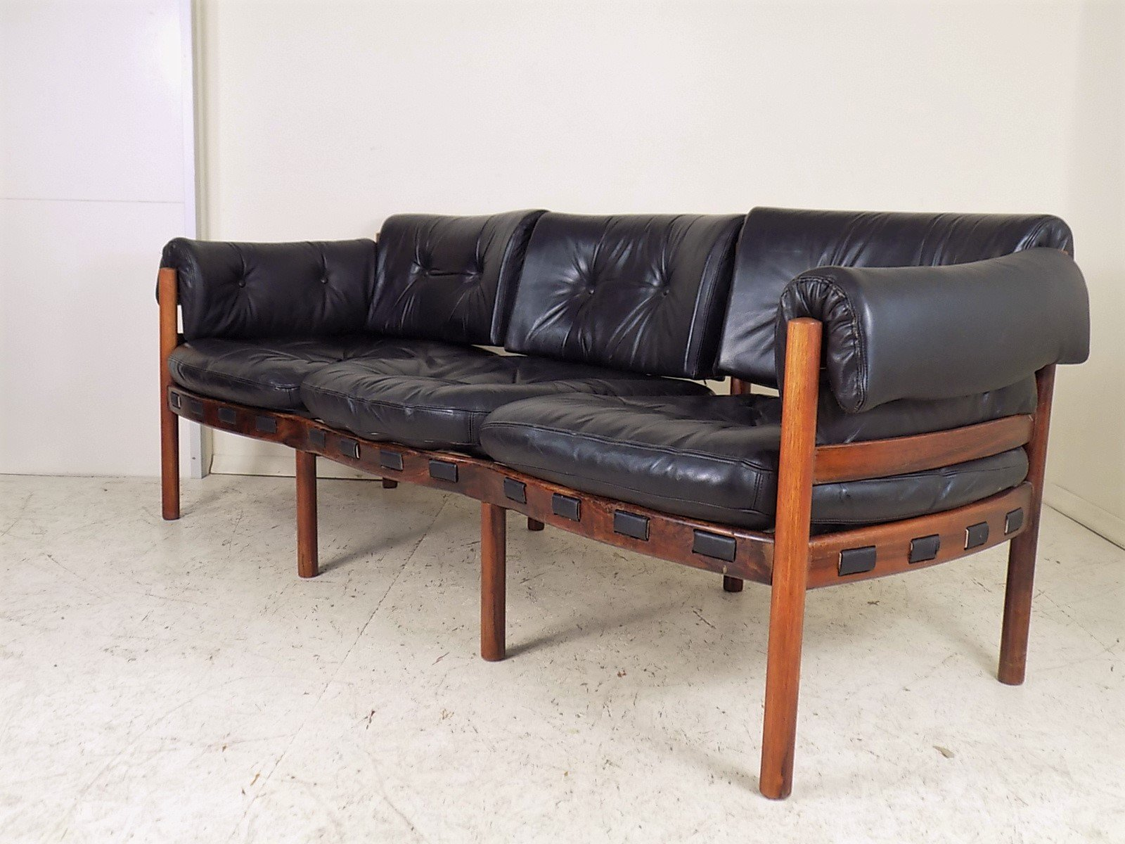 Rosewood And Leather Sofa By Arne Norell For Coja 1960s