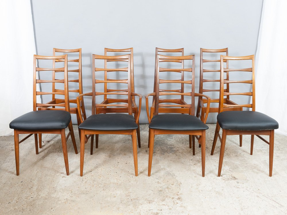 Danish Teak Ladder Back Chairs By Niels Koefoed For Koefoed Hornslet, Set  Of 8 For Sale At Pamono