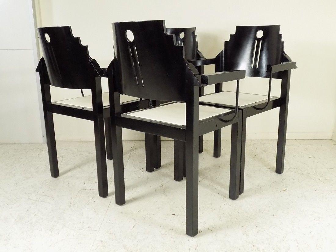 schwarz wei e st hle von thonet 1990 4er set bei. Black Bedroom Furniture Sets. Home Design Ideas