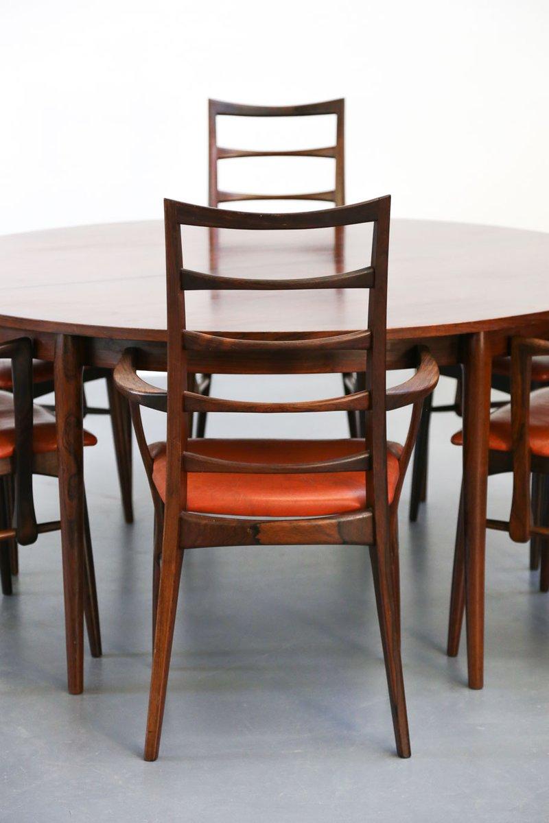 d nischer vintage palisander tisch und 6 st hle von niels. Black Bedroom Furniture Sets. Home Design Ideas