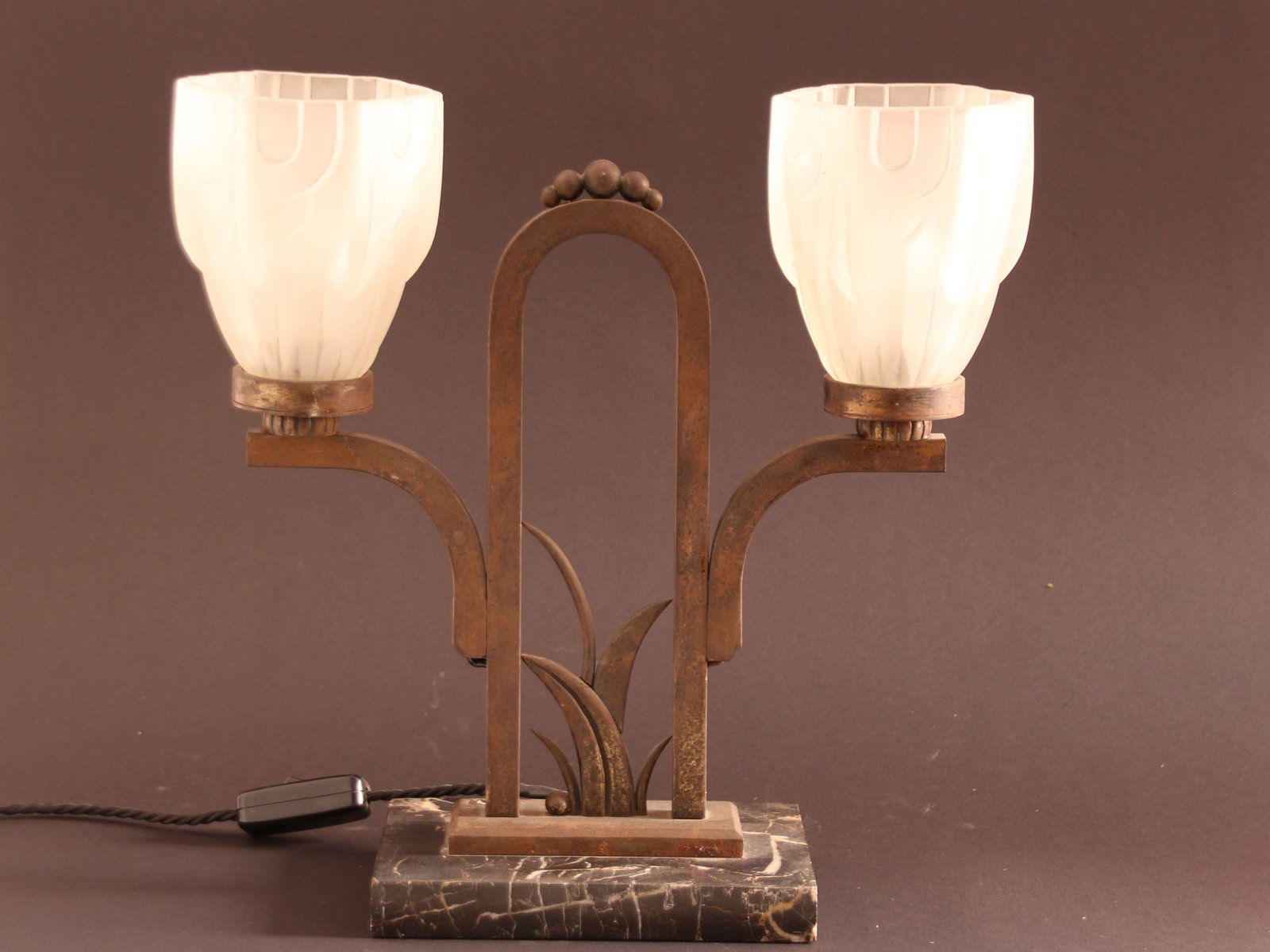 Vintage Art Deco Marble U0026 Wrought Iron Table Lamp