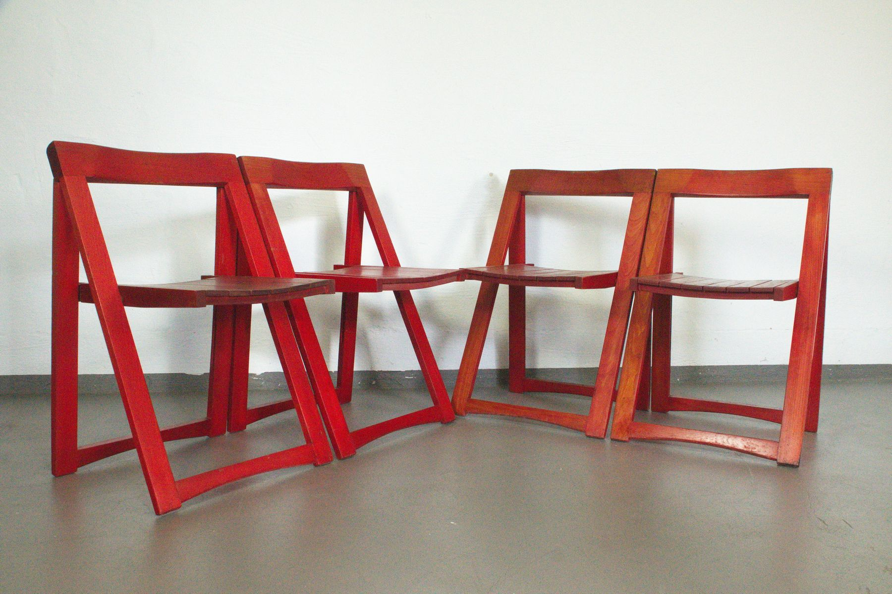 Mid Century Red Folding Chairs by Aldo Jacober for Bazzani Set of