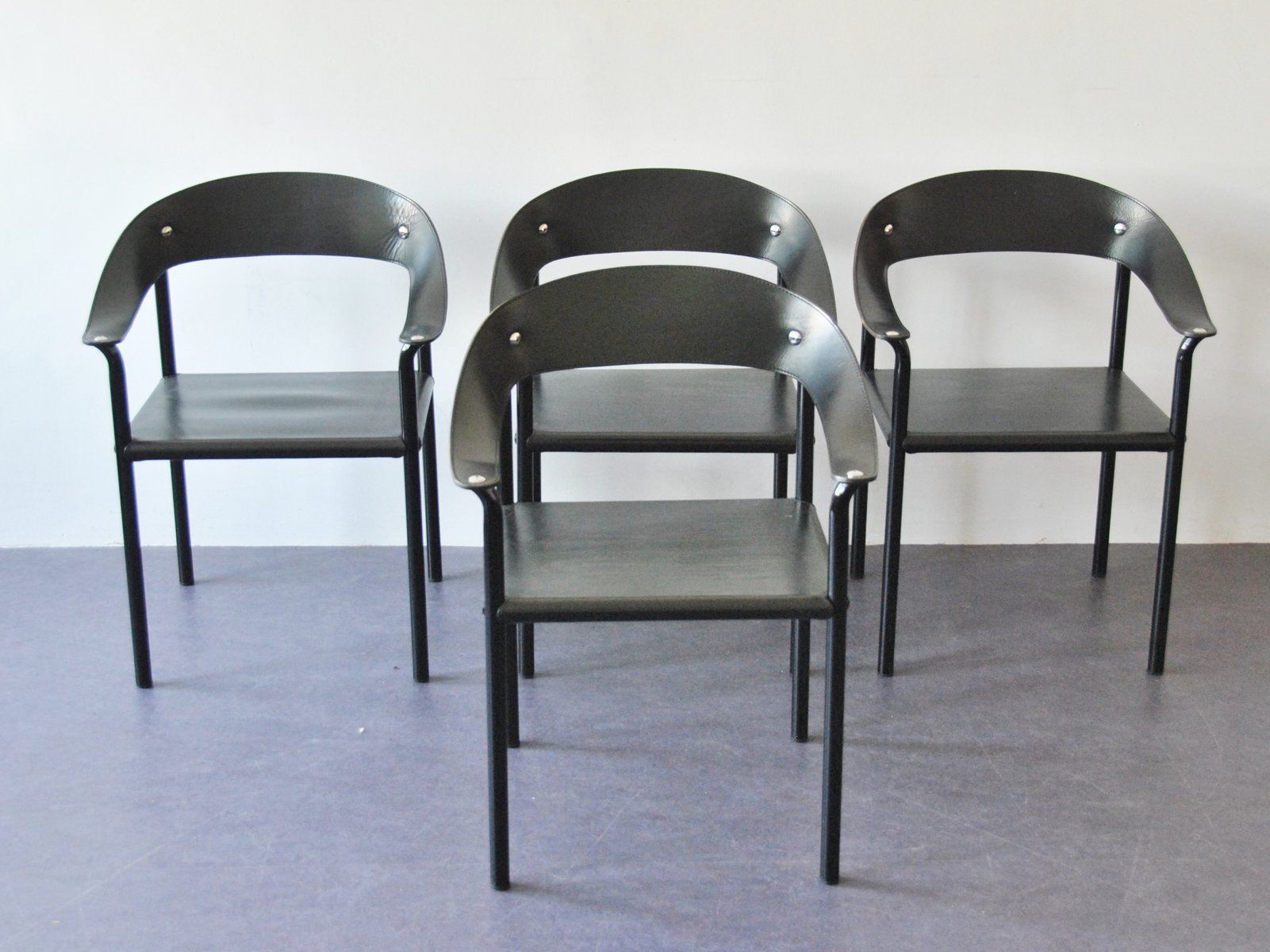 black metal dining chairs. Vintage Black Leather \u0026 Lacquered Metal Dining Chairs, Set Of 4 Chairs I