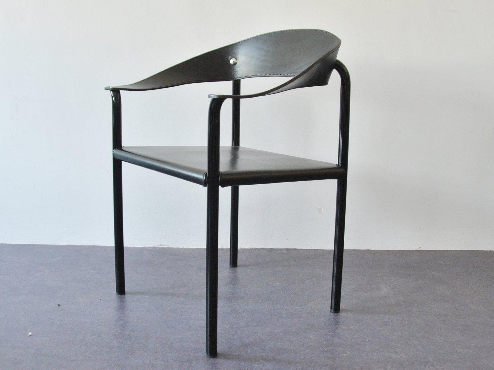 vintage esszimmerst hle aus schwarzem leder schwarz lackiertem metall 4er set bei pamono kaufen. Black Bedroom Furniture Sets. Home Design Ideas
