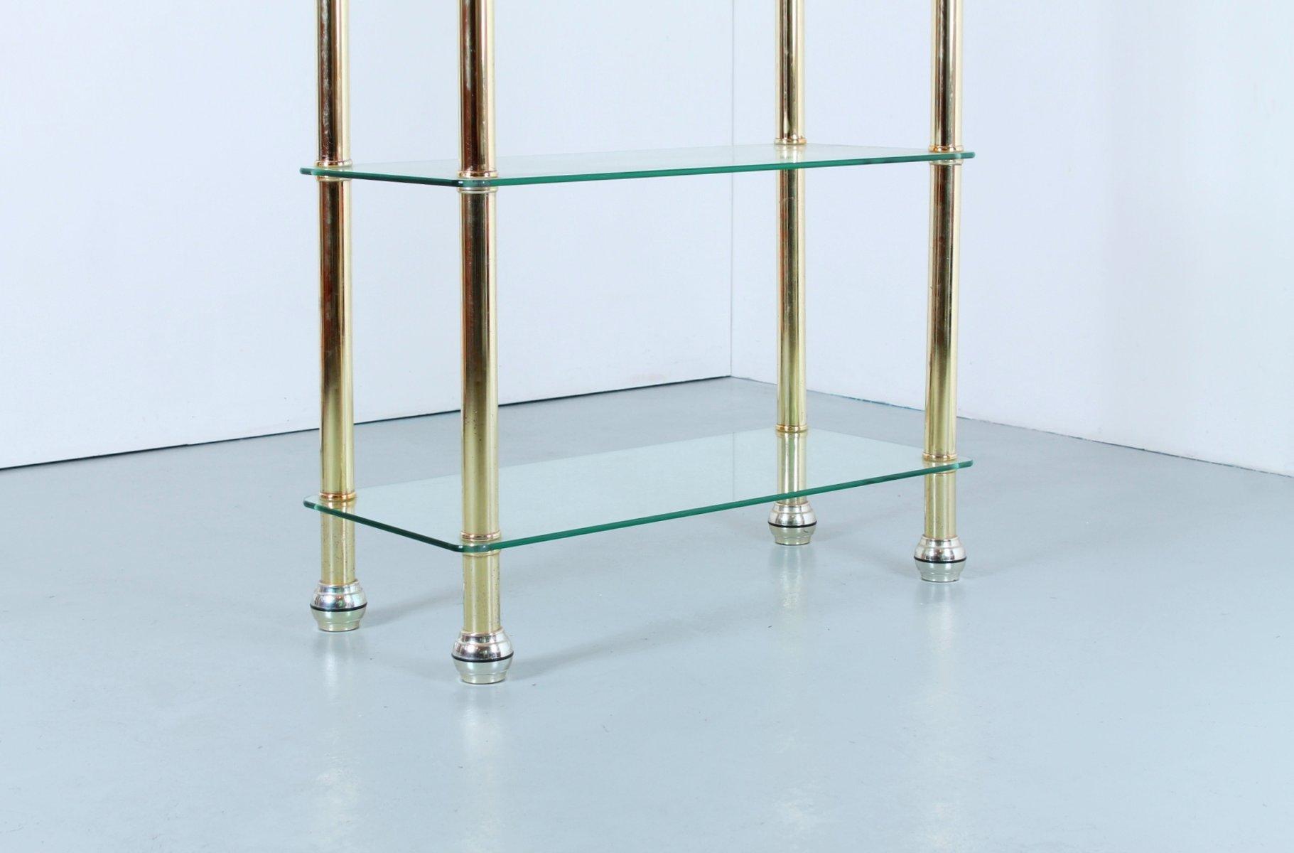 modulares vintage regalsystem aus messing glas bei. Black Bedroom Furniture Sets. Home Design Ideas