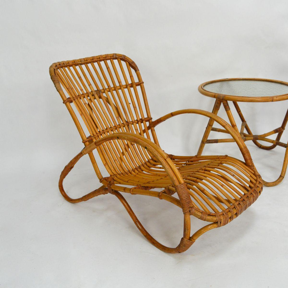 rattan gartenm bel von roh noordwolde 1950er bei pamono kaufen. Black Bedroom Furniture Sets. Home Design Ideas