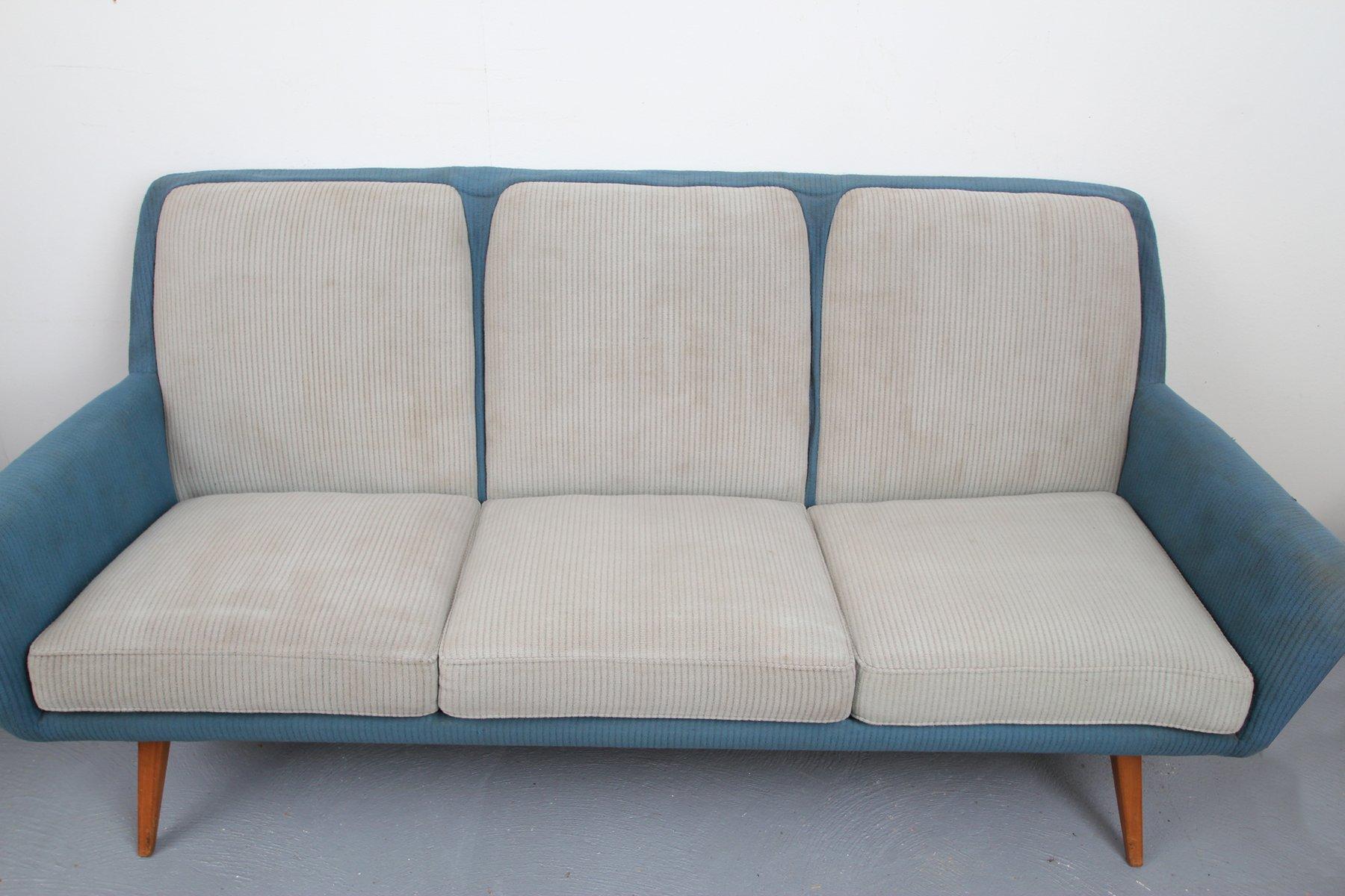 Divano blu e grigio chiaro, anni \'50 in vendita su Pamono