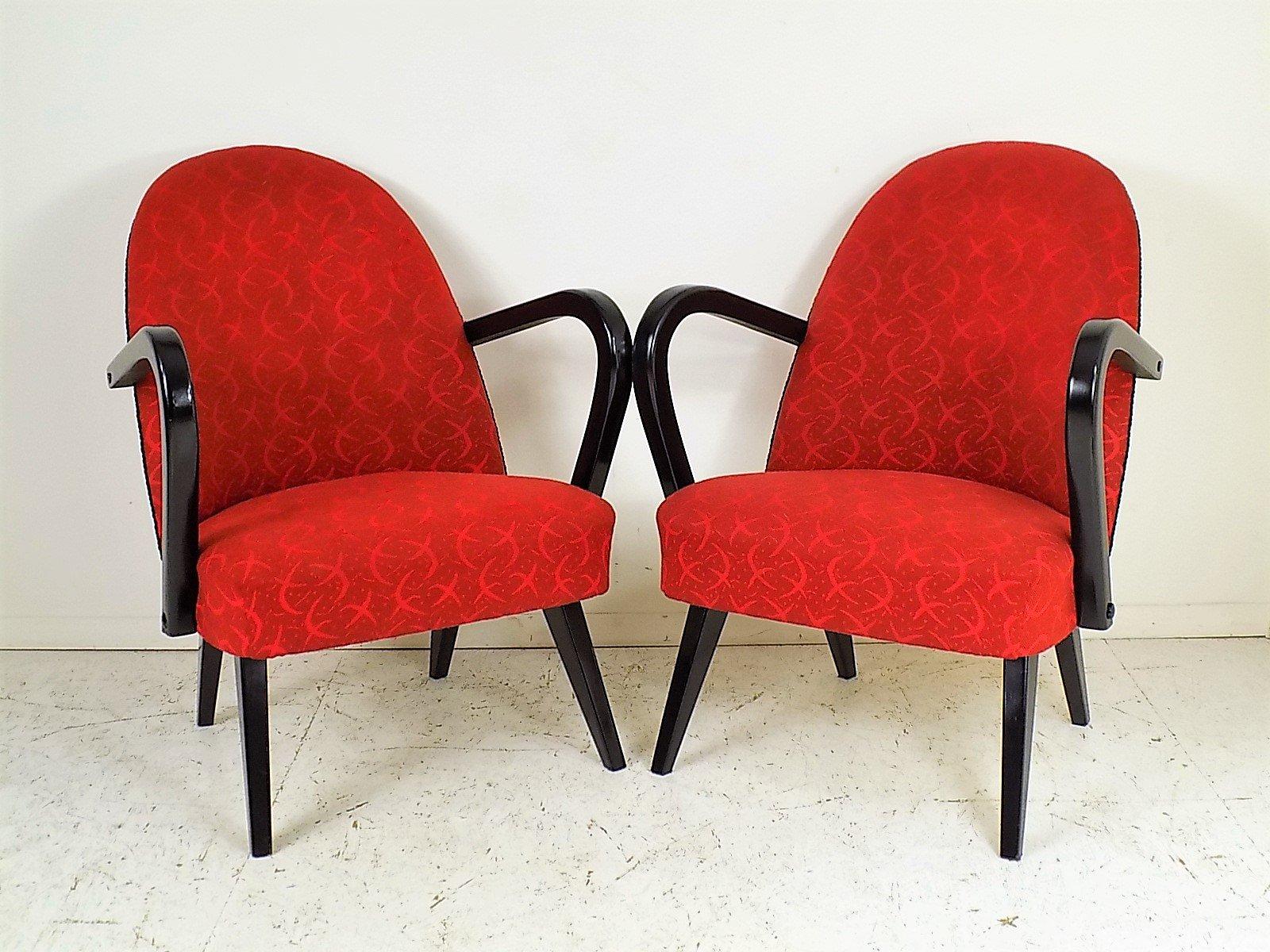 rote polnische sessel 1960er 2er set bei pamono kaufen. Black Bedroom Furniture Sets. Home Design Ideas