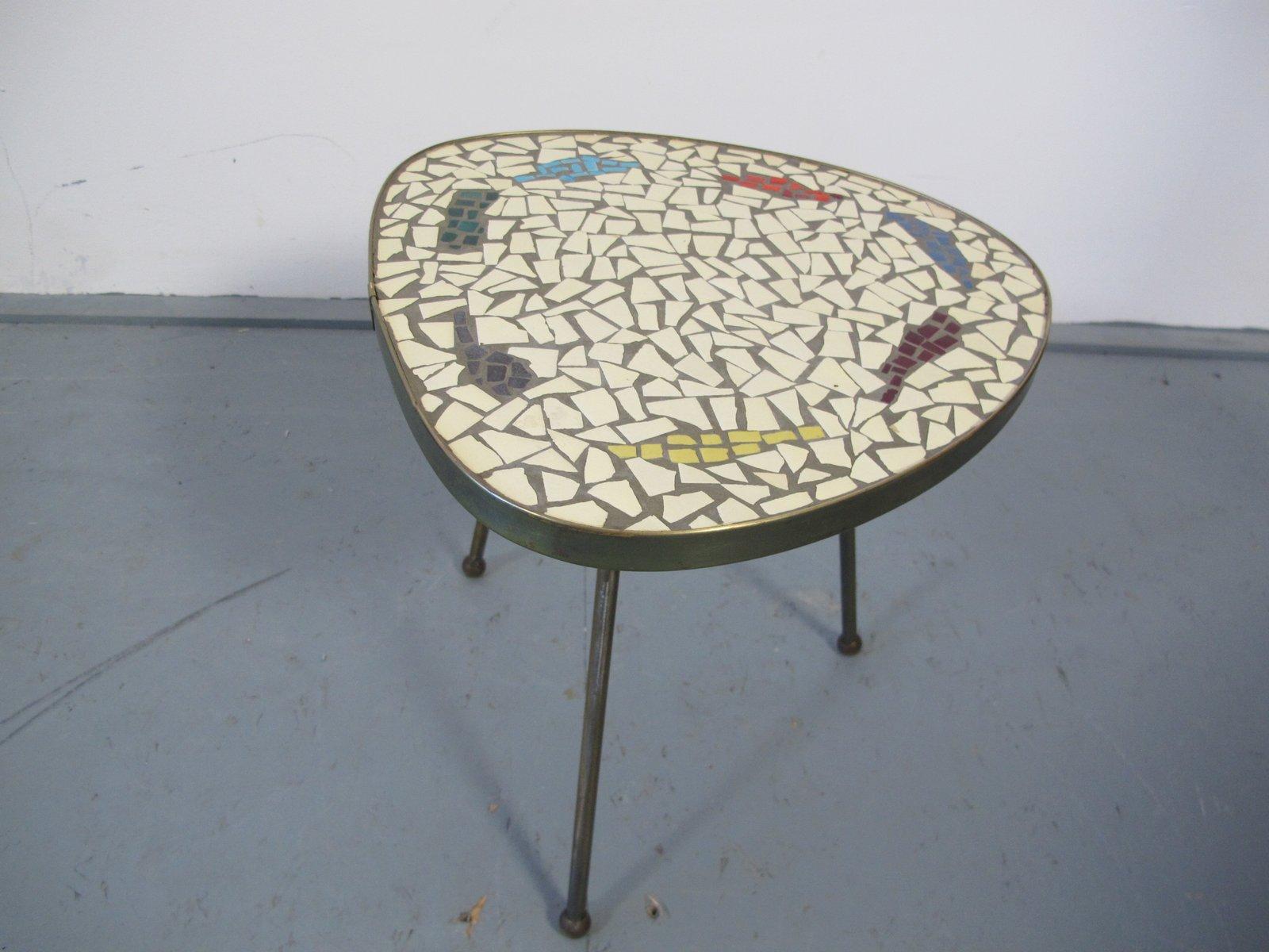 Vintage mosaik und messing beistelltisch 1950er bei for Mosaik beistelltisch
