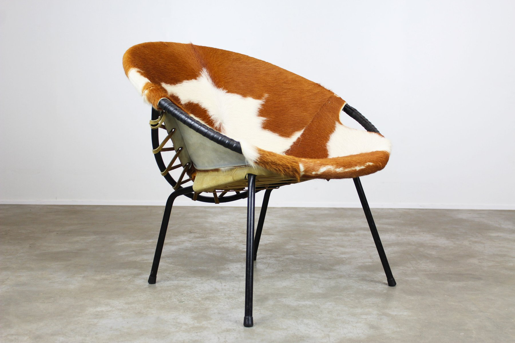 Exceptional Cowhide Balloon Chair By Hans Olsen, 1950s