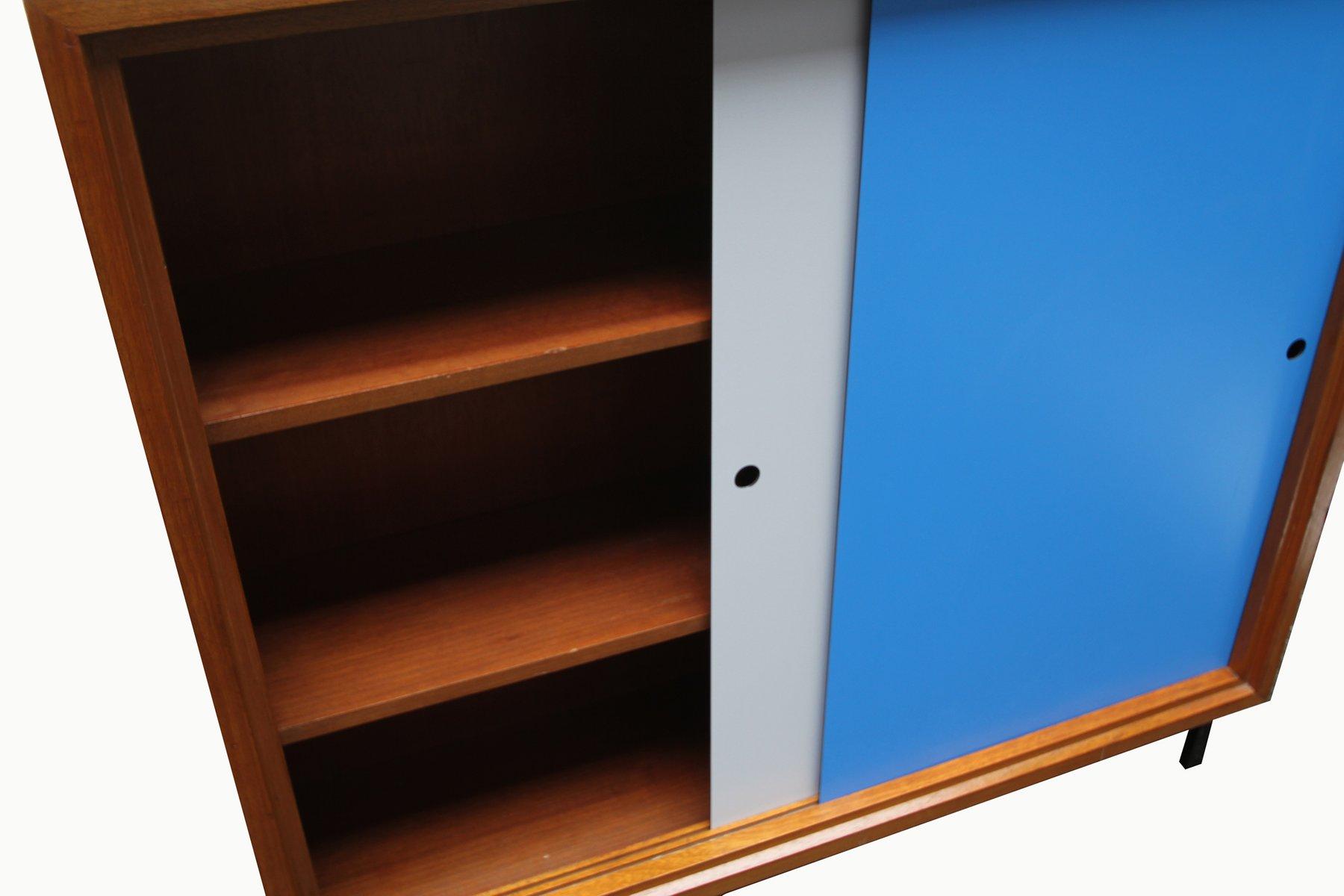 blaues graues walnuss sideboard 1960er bei pamono kaufen. Black Bedroom Furniture Sets. Home Design Ideas
