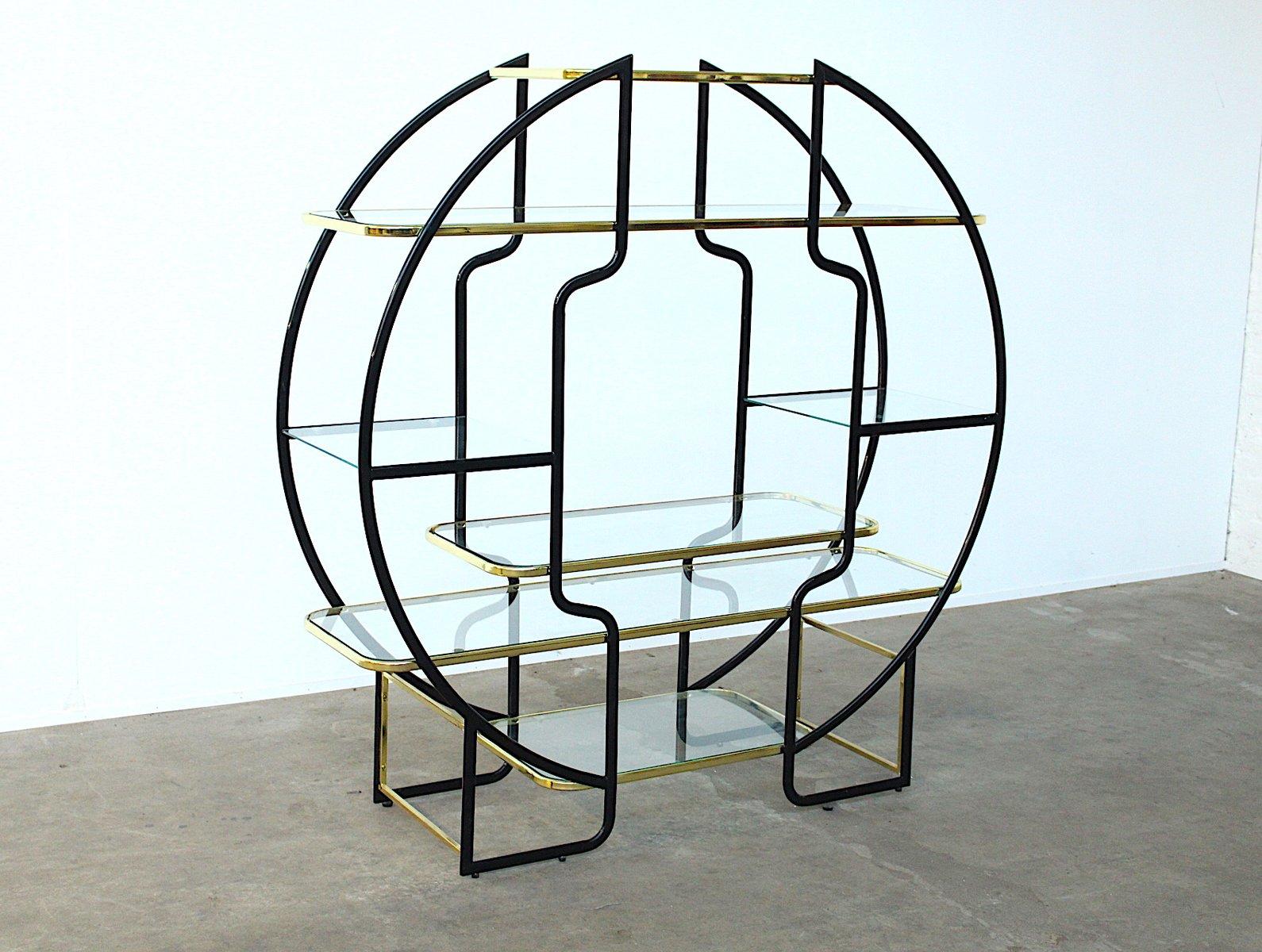 gro es rundes hollywood regency regal aus schwarzem metall messing 1970er bei pamono kaufen. Black Bedroom Furniture Sets. Home Design Ideas