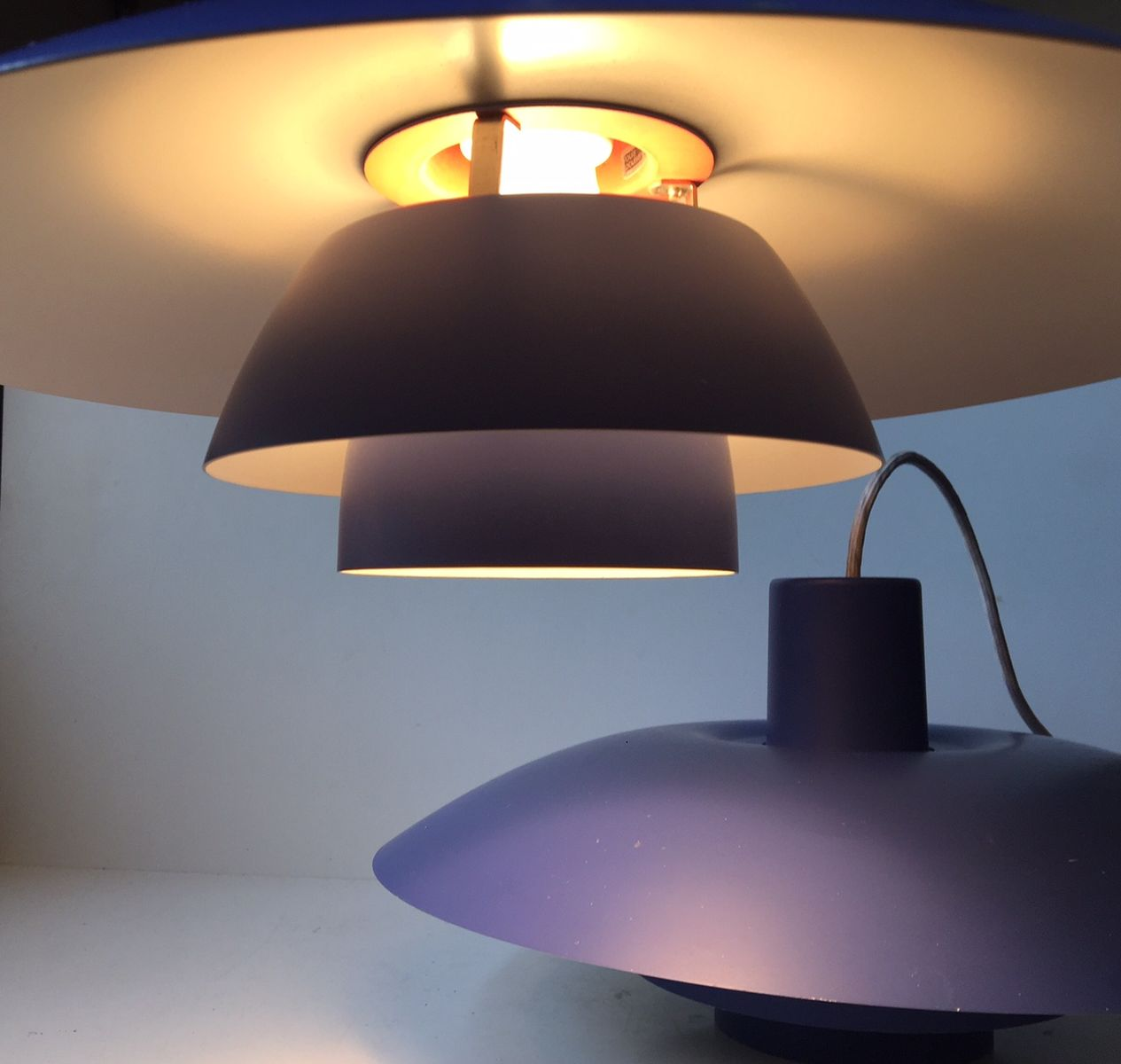 blue ph4 3 pendant lamps by poul henningsen for louis poulsen 1970s set of 2 for sale at pamono. Black Bedroom Furniture Sets. Home Design Ideas