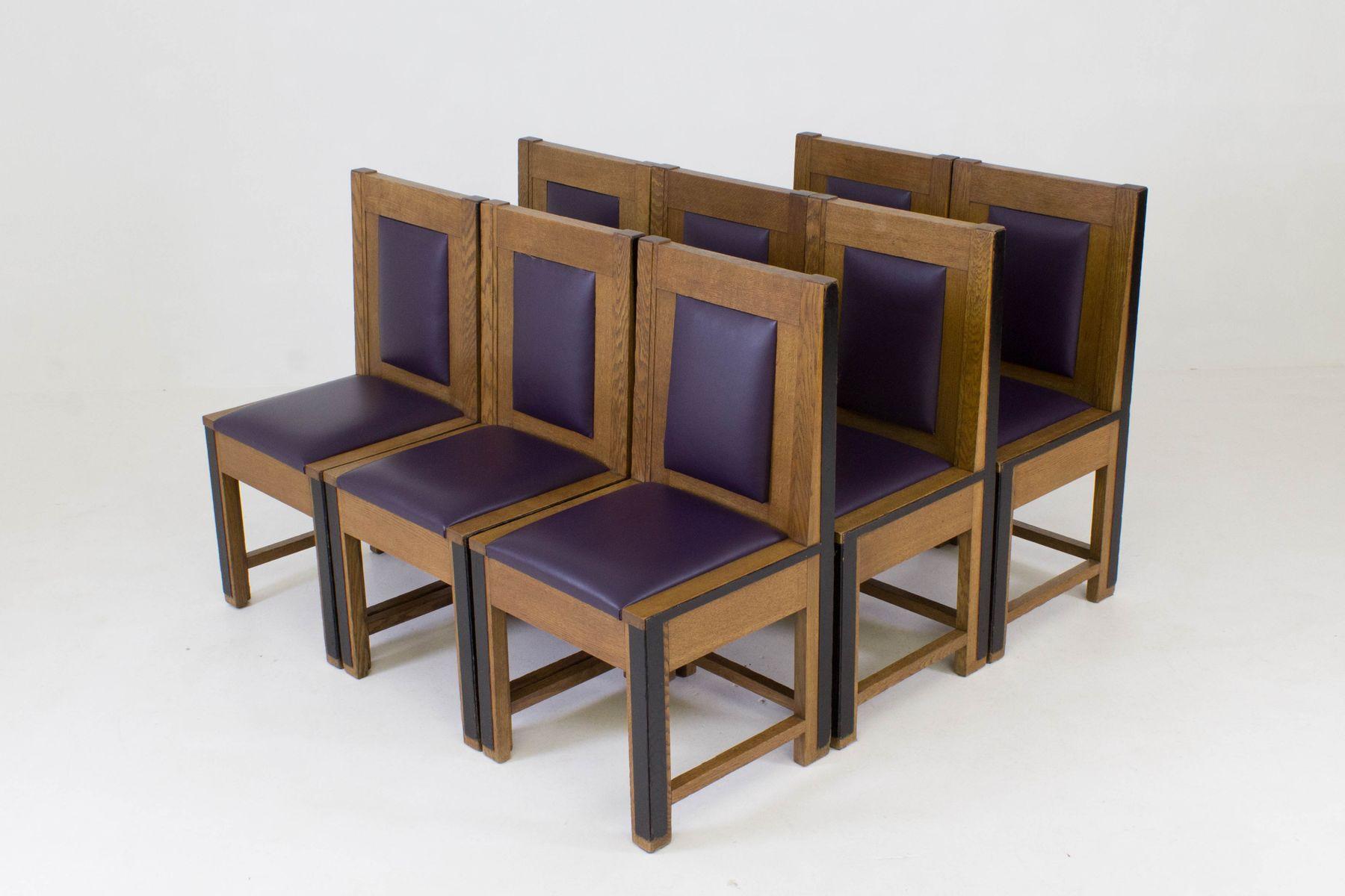 art deco haager schule eichenholz st hle von randoe 1926. Black Bedroom Furniture Sets. Home Design Ideas