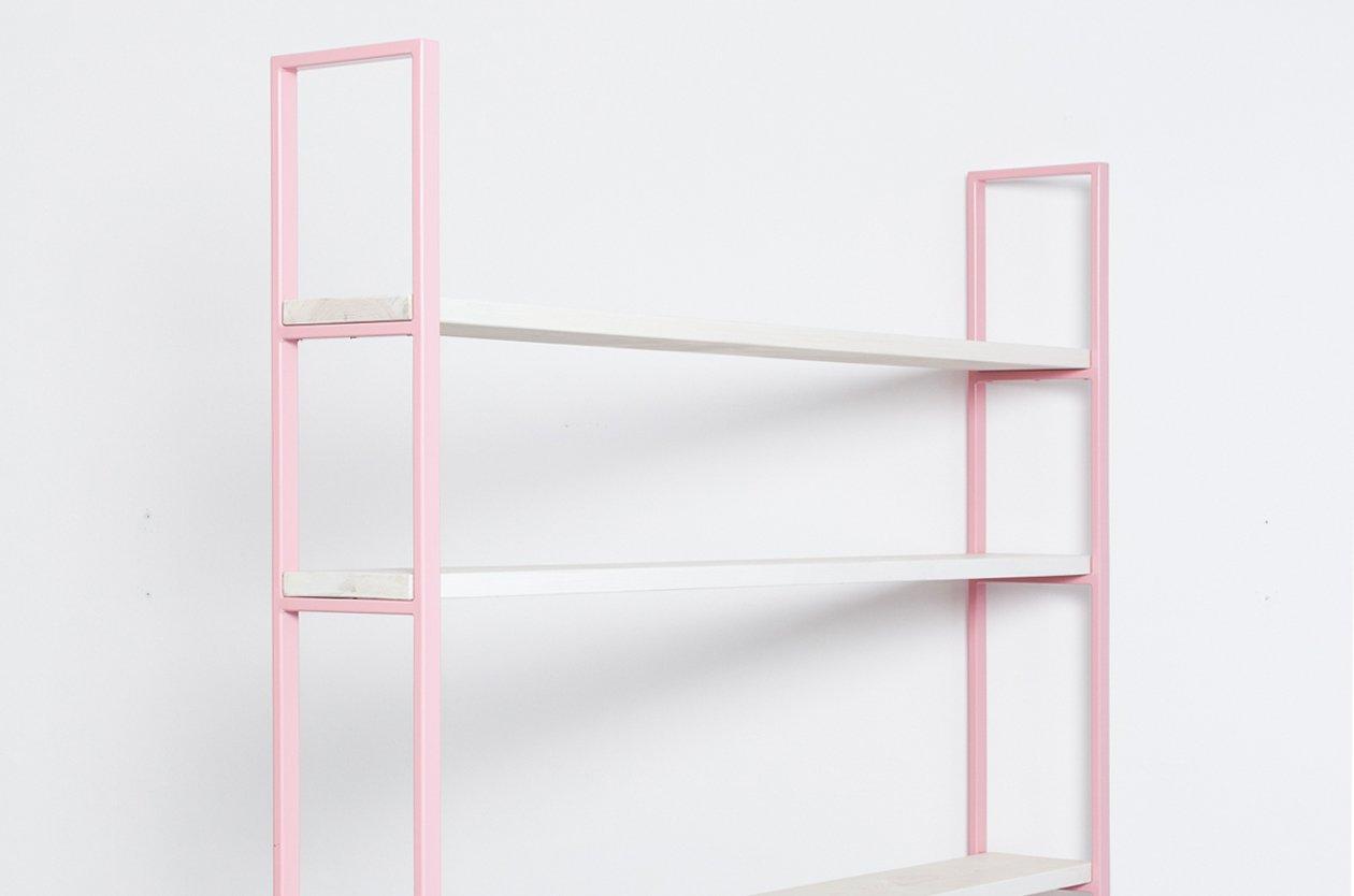 susteren rosa regal aus pulverbeschichtetem stahl. Black Bedroom Furniture Sets. Home Design Ideas