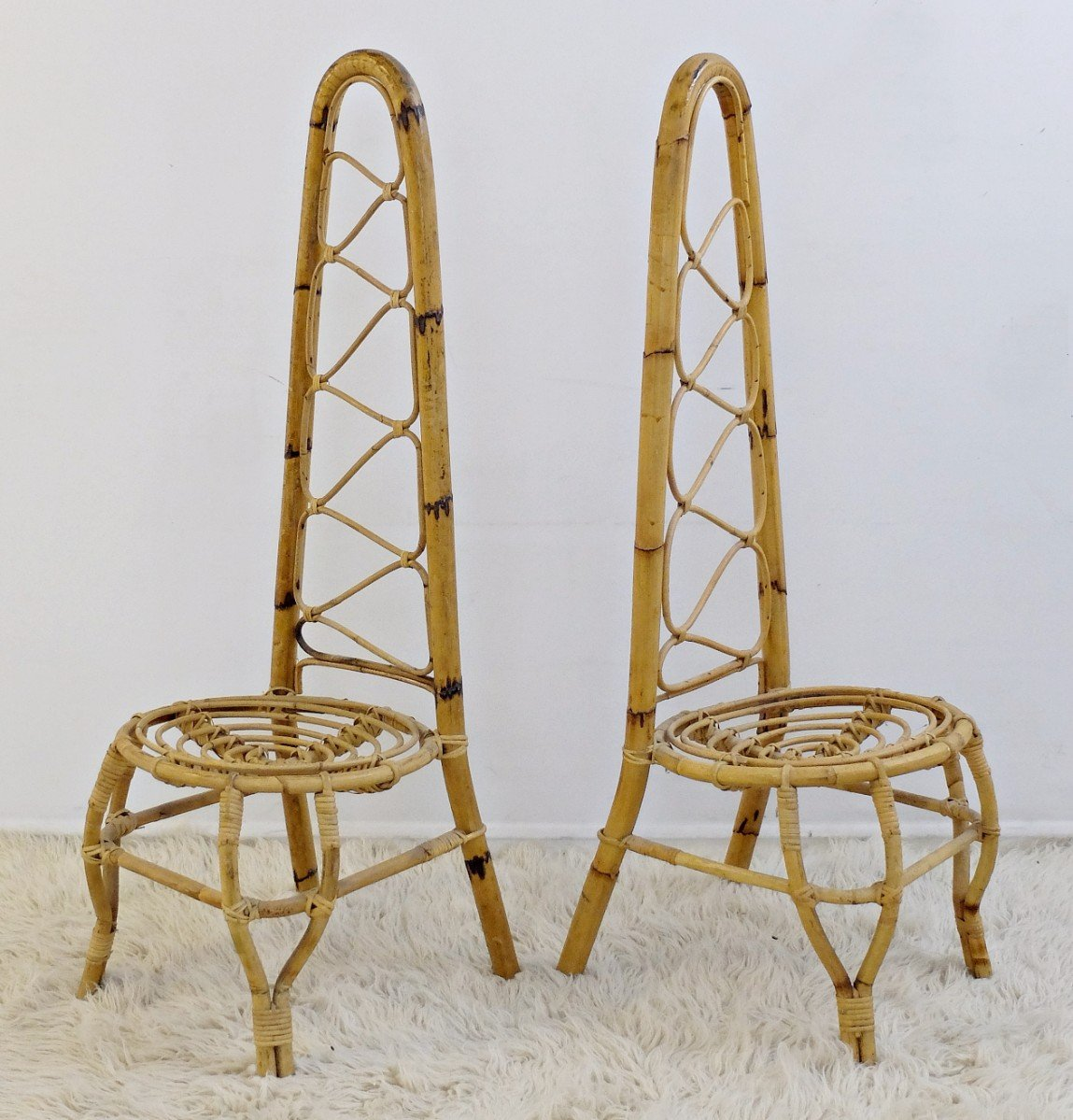 Mid Century Rattan U0026 Bamboo High Back Chairs, Set Of 2