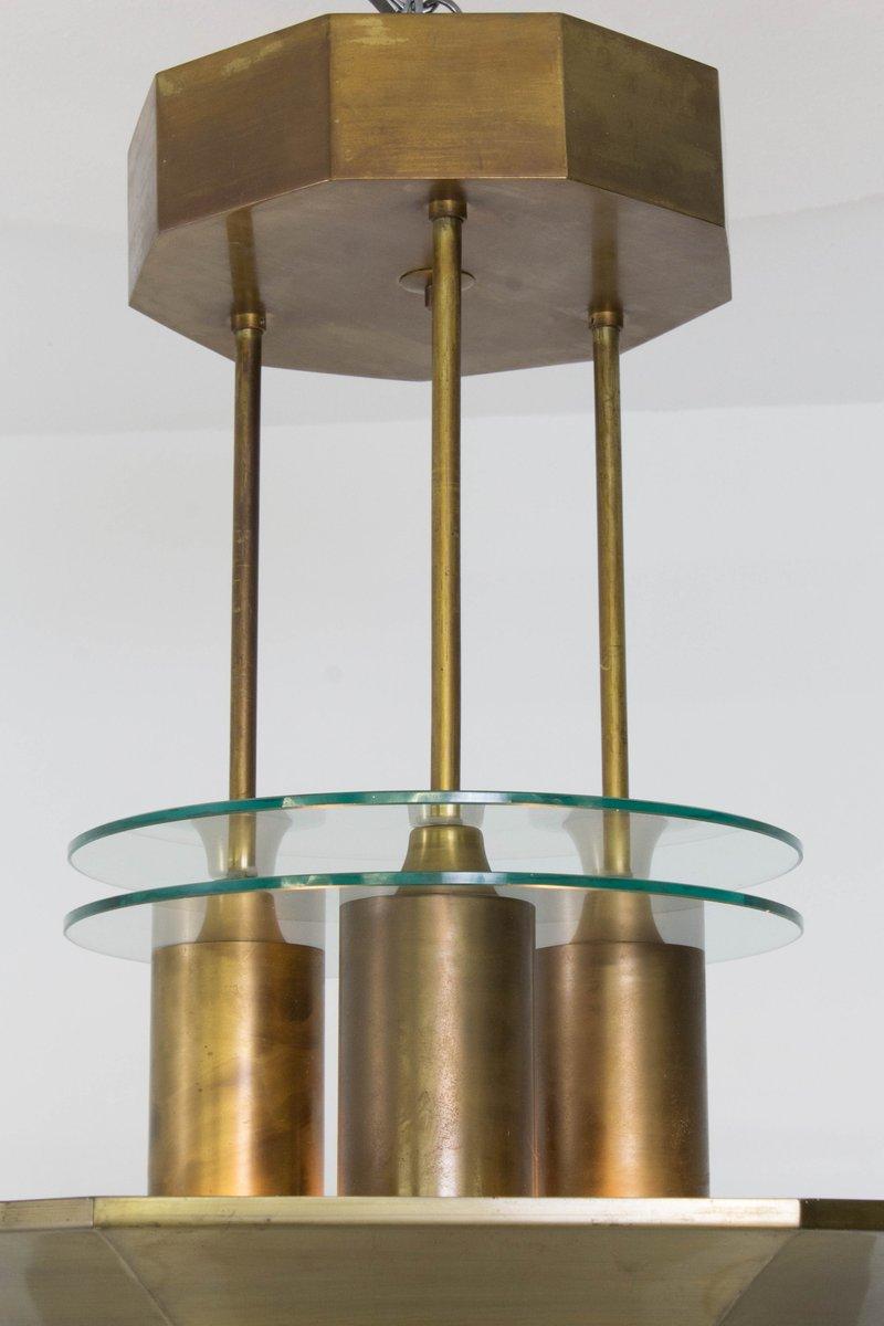 Art deco haager schule lampe aus messing und ge tztem glas for Art deco lampe