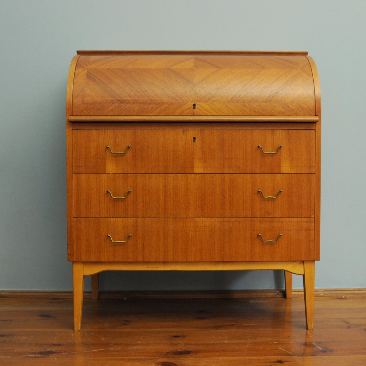 Mid Century Swedish Roll Top Teak Secretary