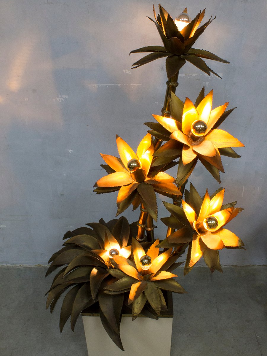 Mid Century Brass Flower Lamp From Maison Jansen