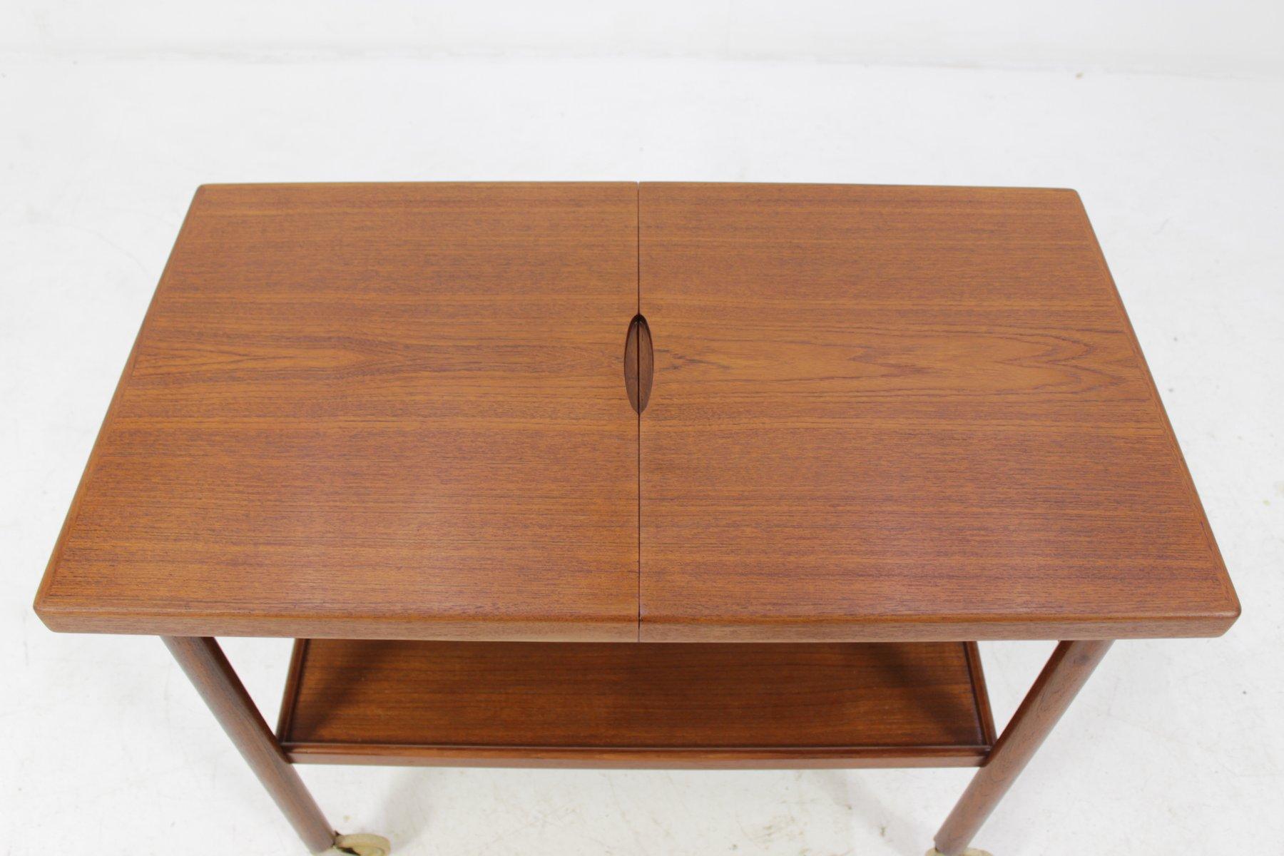 d nischer ausziehbarer teak servierwagen 1960er bei pamono kaufen. Black Bedroom Furniture Sets. Home Design Ideas