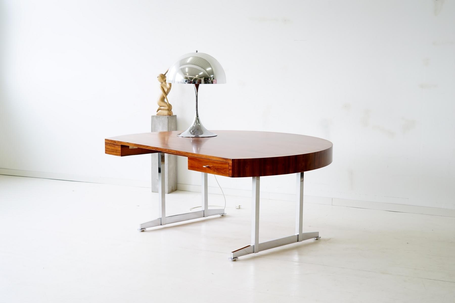 abgerundeter mid century schreibtisch aus palisander bei. Black Bedroom Furniture Sets. Home Design Ideas
