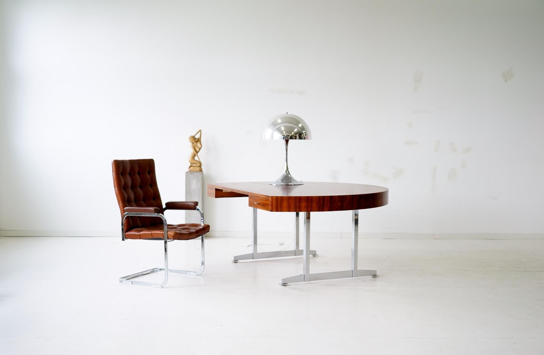 Mid Century Brown Leather RH 304 Cantilever Chair by Robert