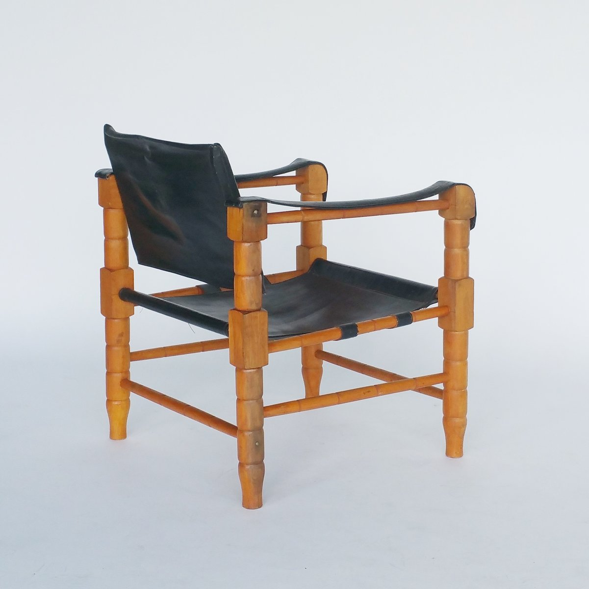 Black Leather Safari Chair, 1960s