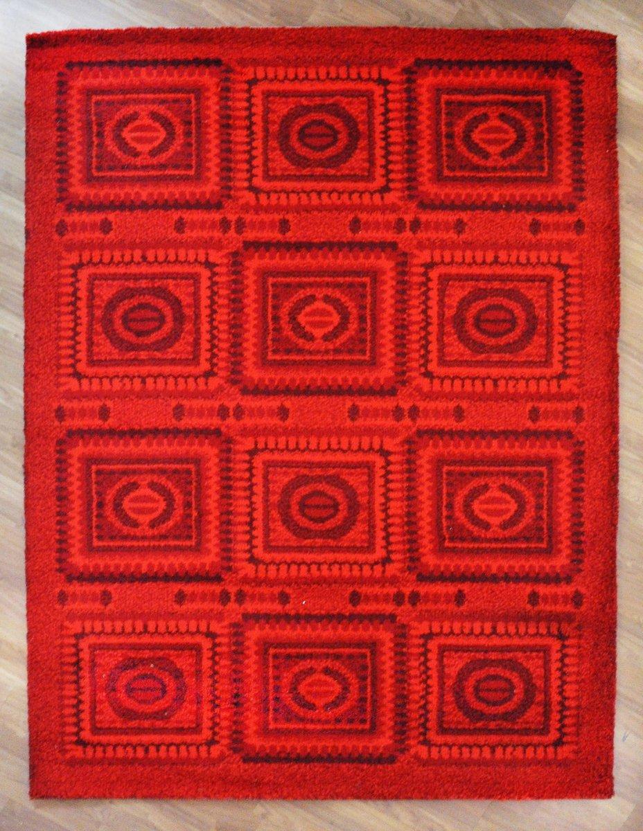 roter vintage mosaik teppich 1970er bei pamono kaufen. Black Bedroom Furniture Sets. Home Design Ideas