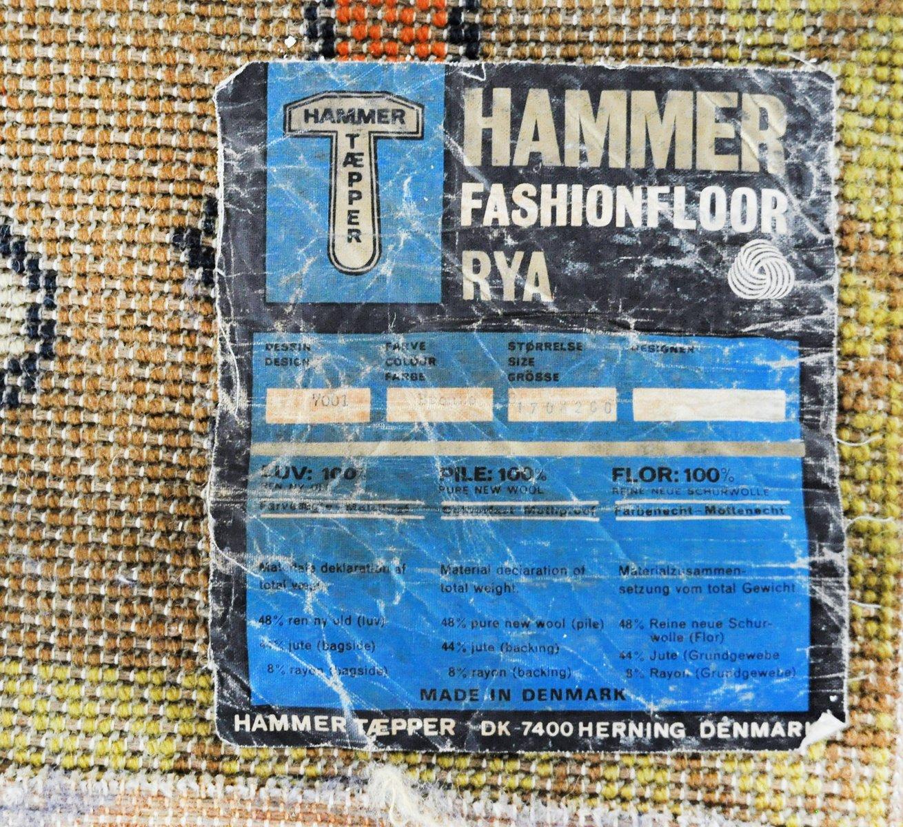 vintage wollteppich von hammer taepper bei pamono kaufen. Black Bedroom Furniture Sets. Home Design Ideas