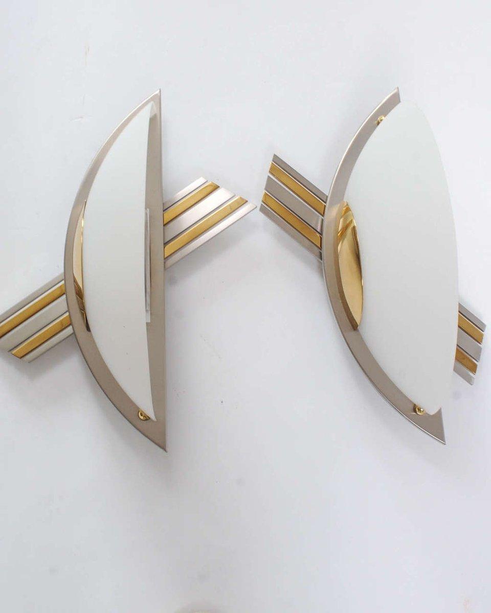 brass glass and chrome sconces from b m leuchten set. Black Bedroom Furniture Sets. Home Design Ideas