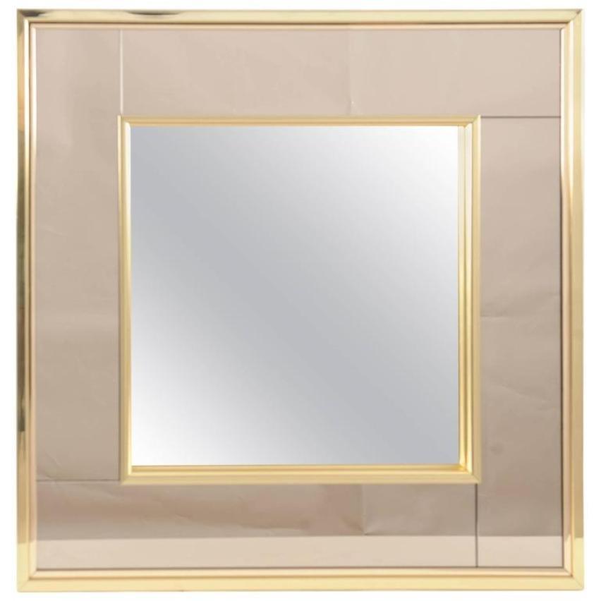 Zweifarbiger quadratischer vintage spiegel mit for Spiegel mit messingrahmen