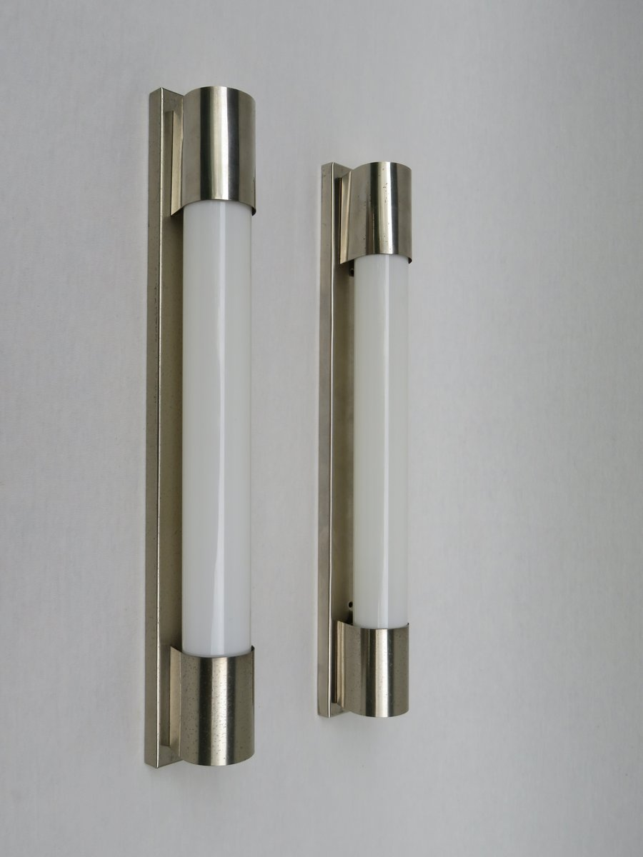 Art Deco Nickel Plated Wall Sconces, Set Of 2