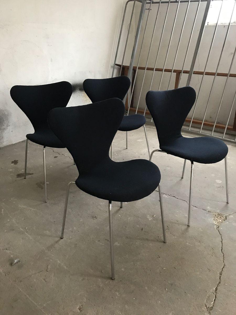 vintage 3107 chairs by arne jacobsen for fritz hansen set of 4 for sale at pamono. Black Bedroom Furniture Sets. Home Design Ideas