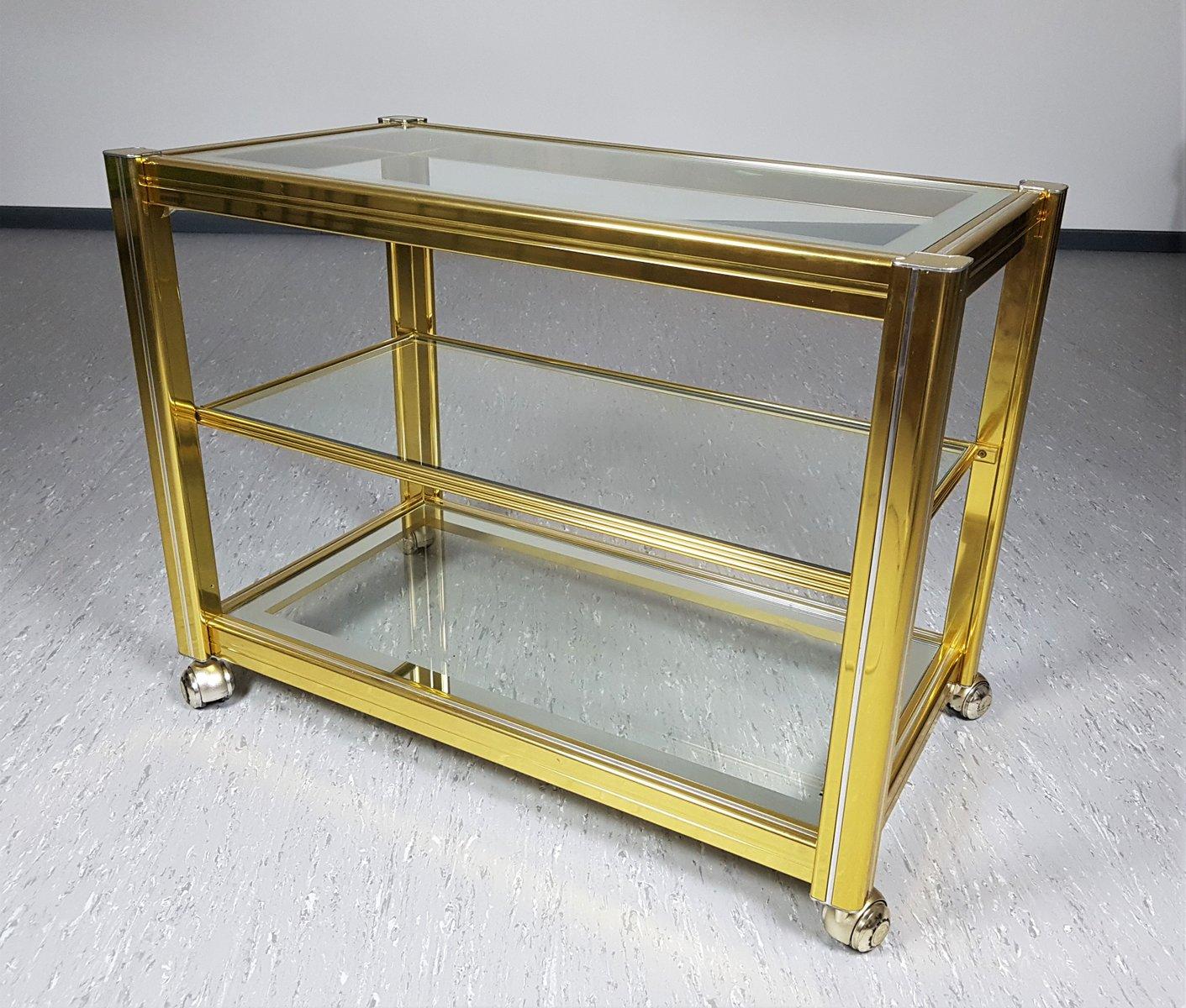 vintage messing glas servierwagen bei pamono kaufen. Black Bedroom Furniture Sets. Home Design Ideas