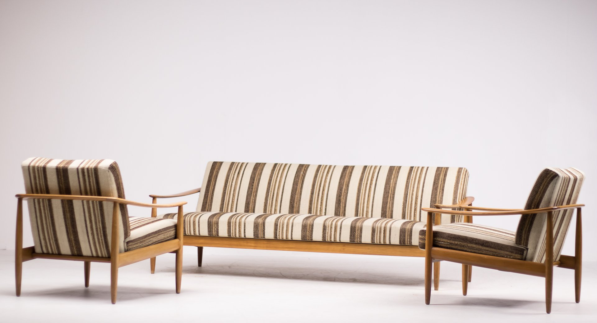 Mid Century Scandinavian Living Room Suite With Folding Sofa