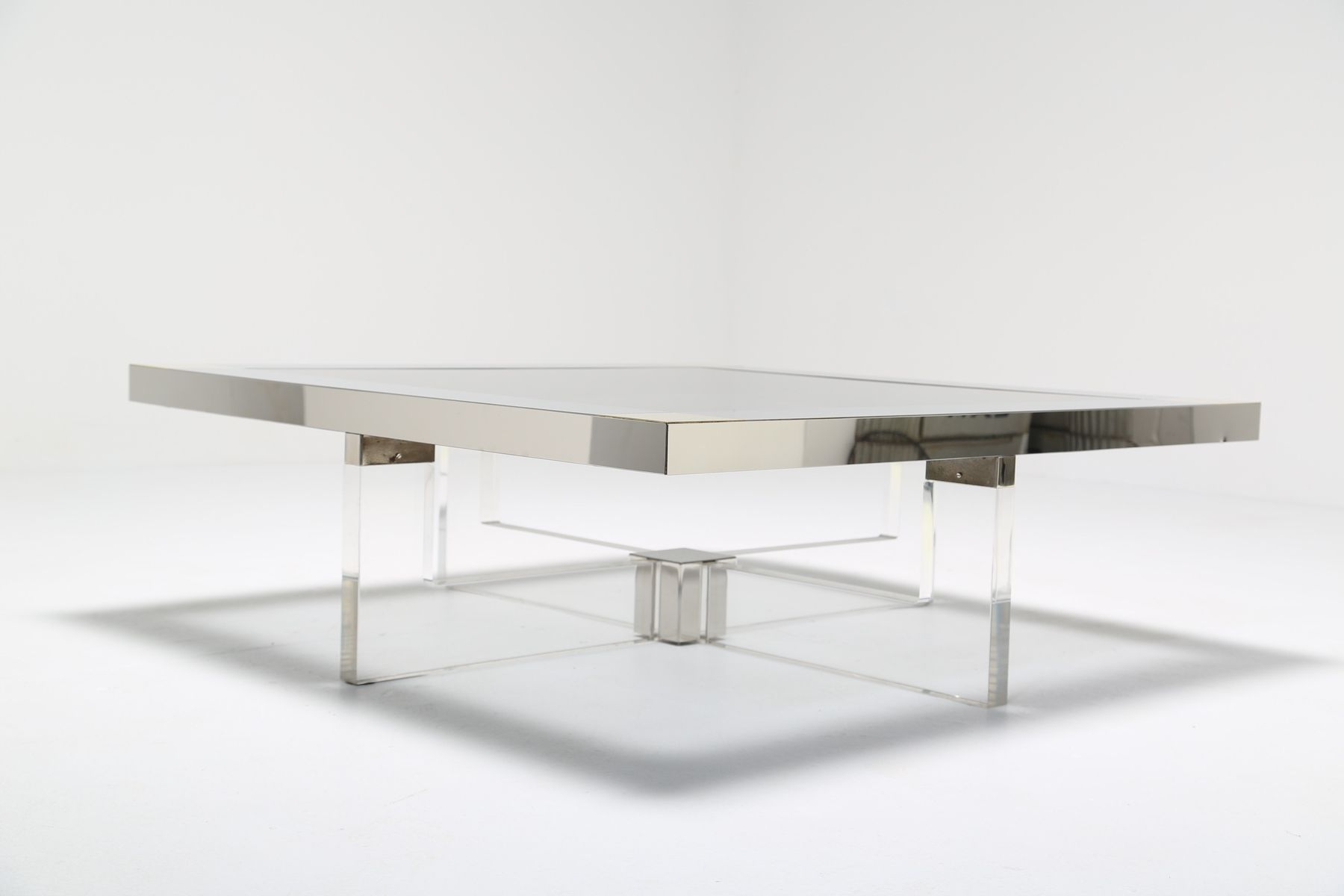 Italian Lucite Chrome and Brass Coffee Table 1970s for sale at
