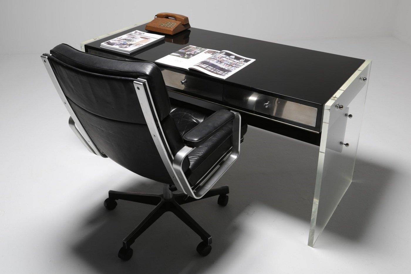 vintage plexiglas schreibtisch mit hocker bei pamono kaufen. Black Bedroom Furniture Sets. Home Design Ideas