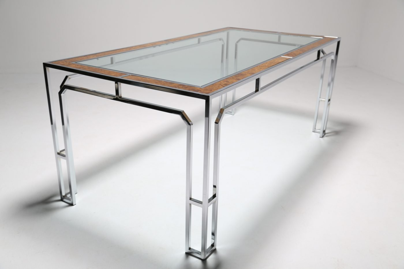 Glass U0026 Chrome Dining Table, 1970s