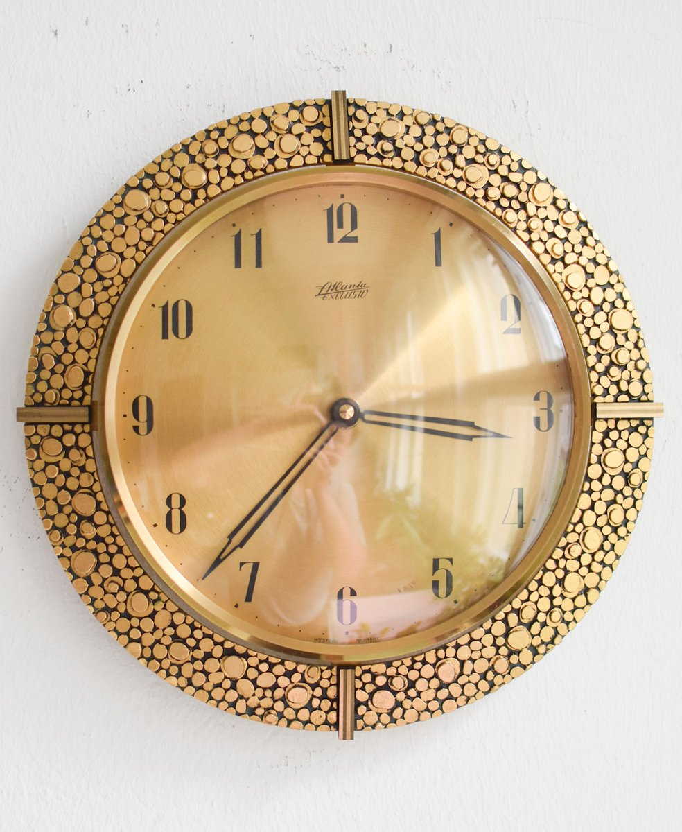 24 Karat Gold-Plated Brass Wall Clock from Atlanta, 1960s for sale ...