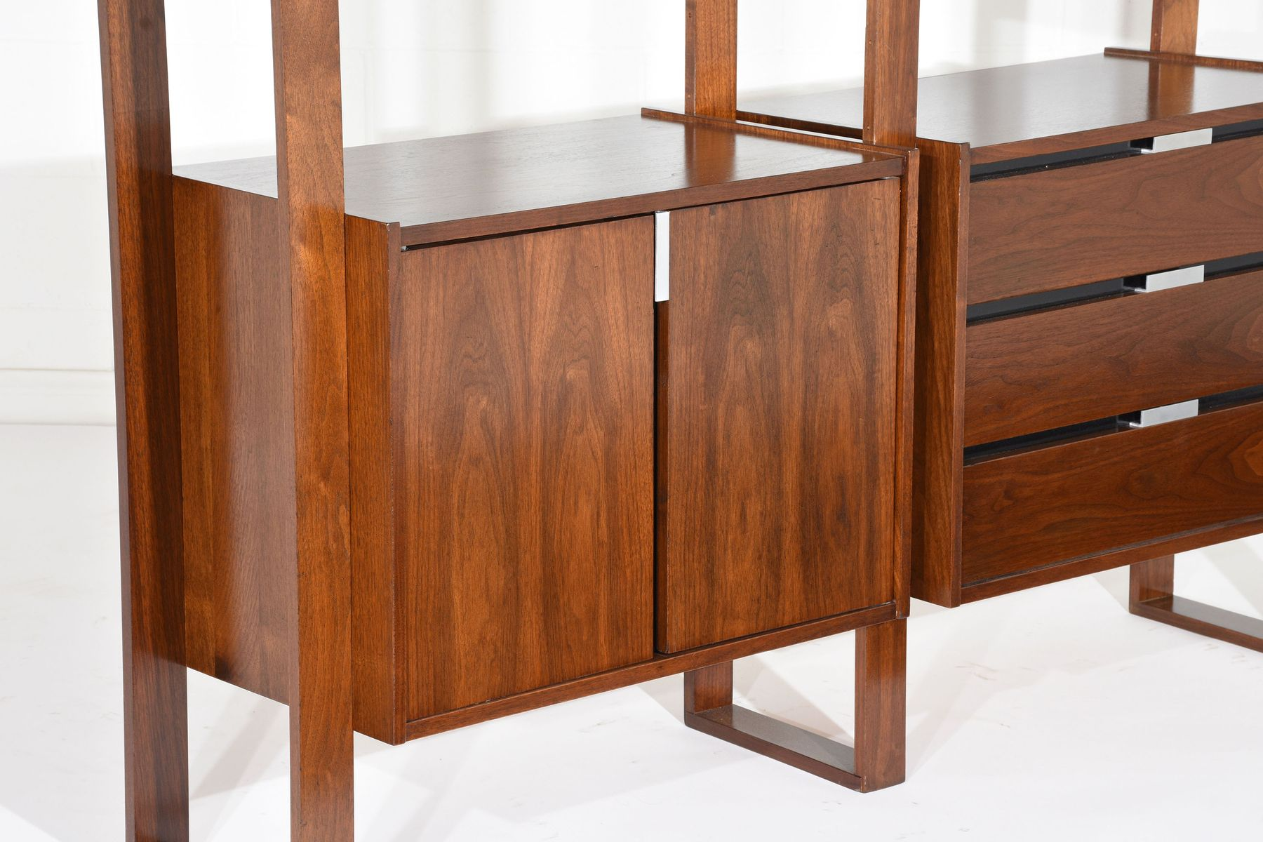 Mid Century Walnut Freestanding Wall Unit for sale at Pamono