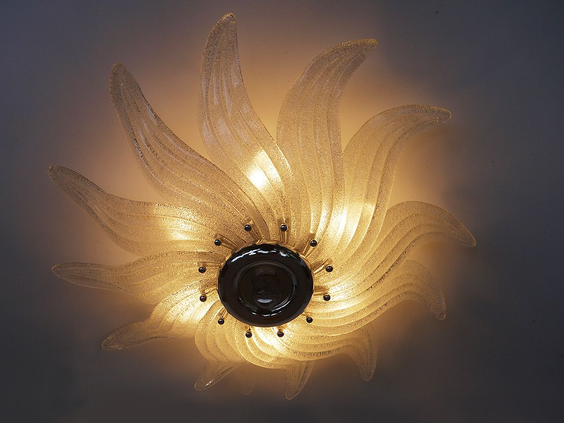 Vintage Venetian Murano Glass Leaf Ceiling Light From Industria Venezia  Lampadari