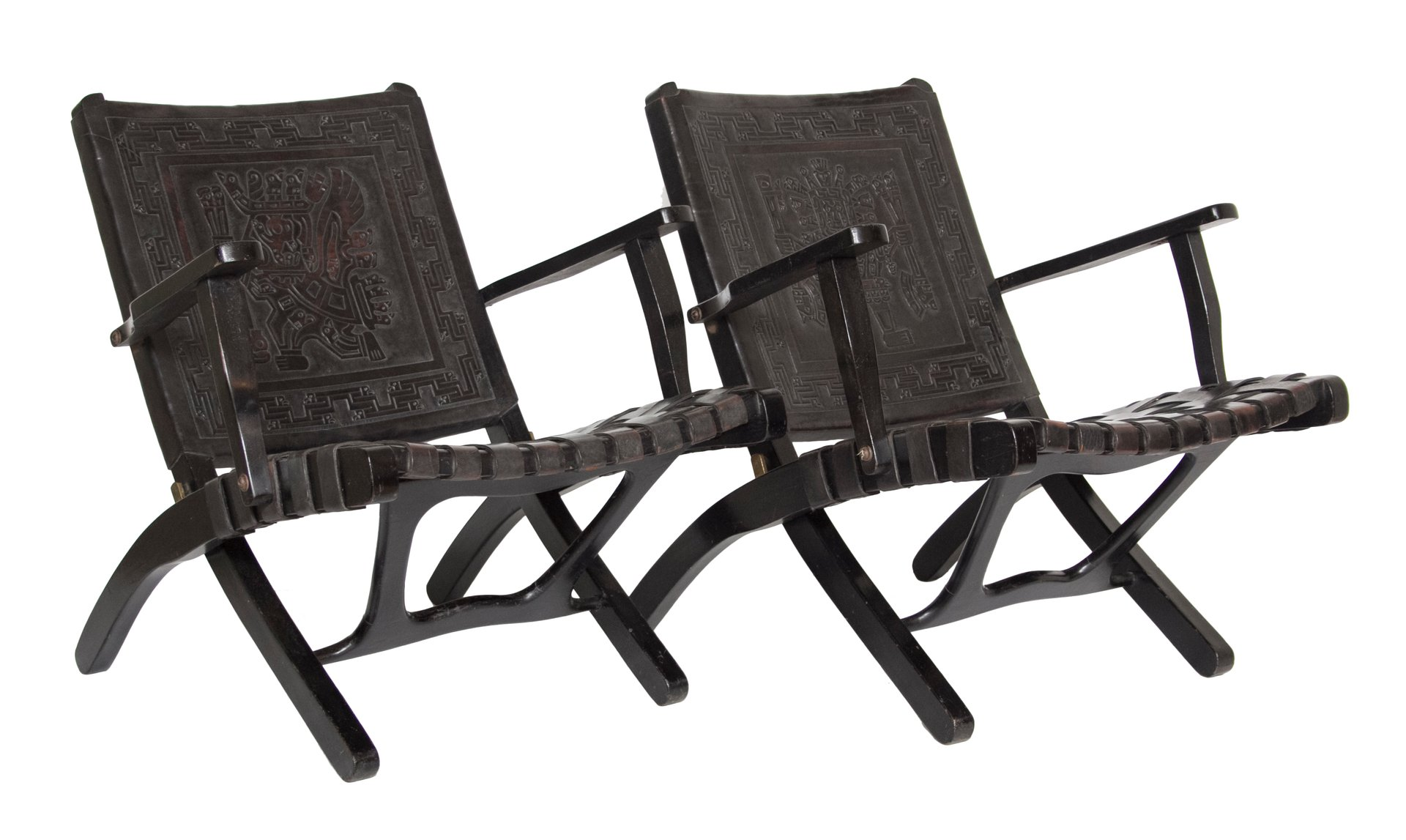 Peruvian Leather Folding Chairs 1950s Set of 2 for sale at Pamono
