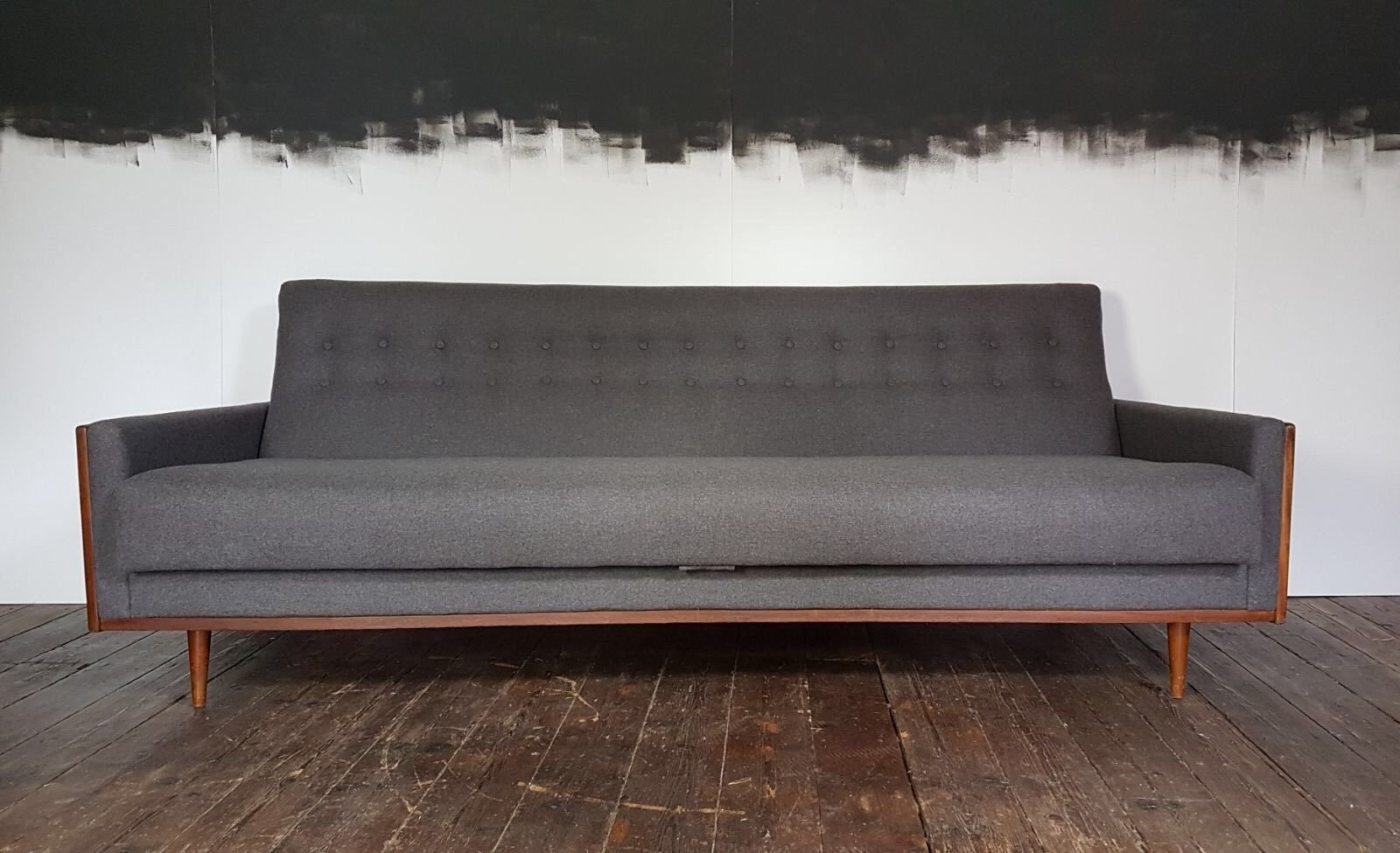 Mid Century American Teak Sofa In Grey Wool From G Plan/E. Gomme