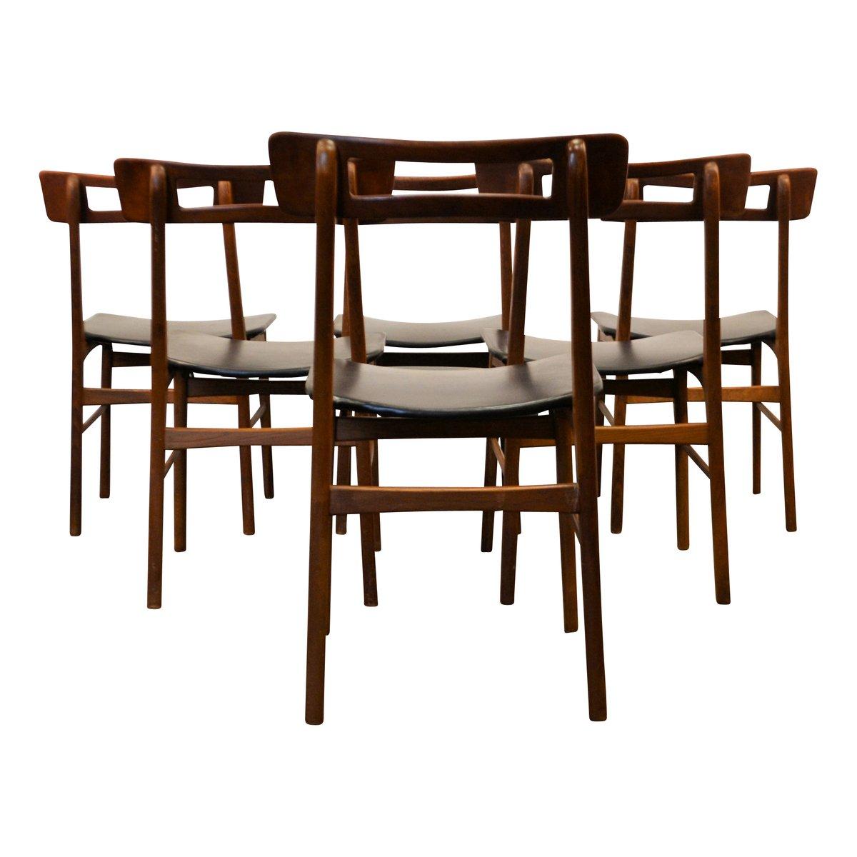 d nische teak esszimmerst hle 1950er 6er set bei pamono. Black Bedroom Furniture Sets. Home Design Ideas