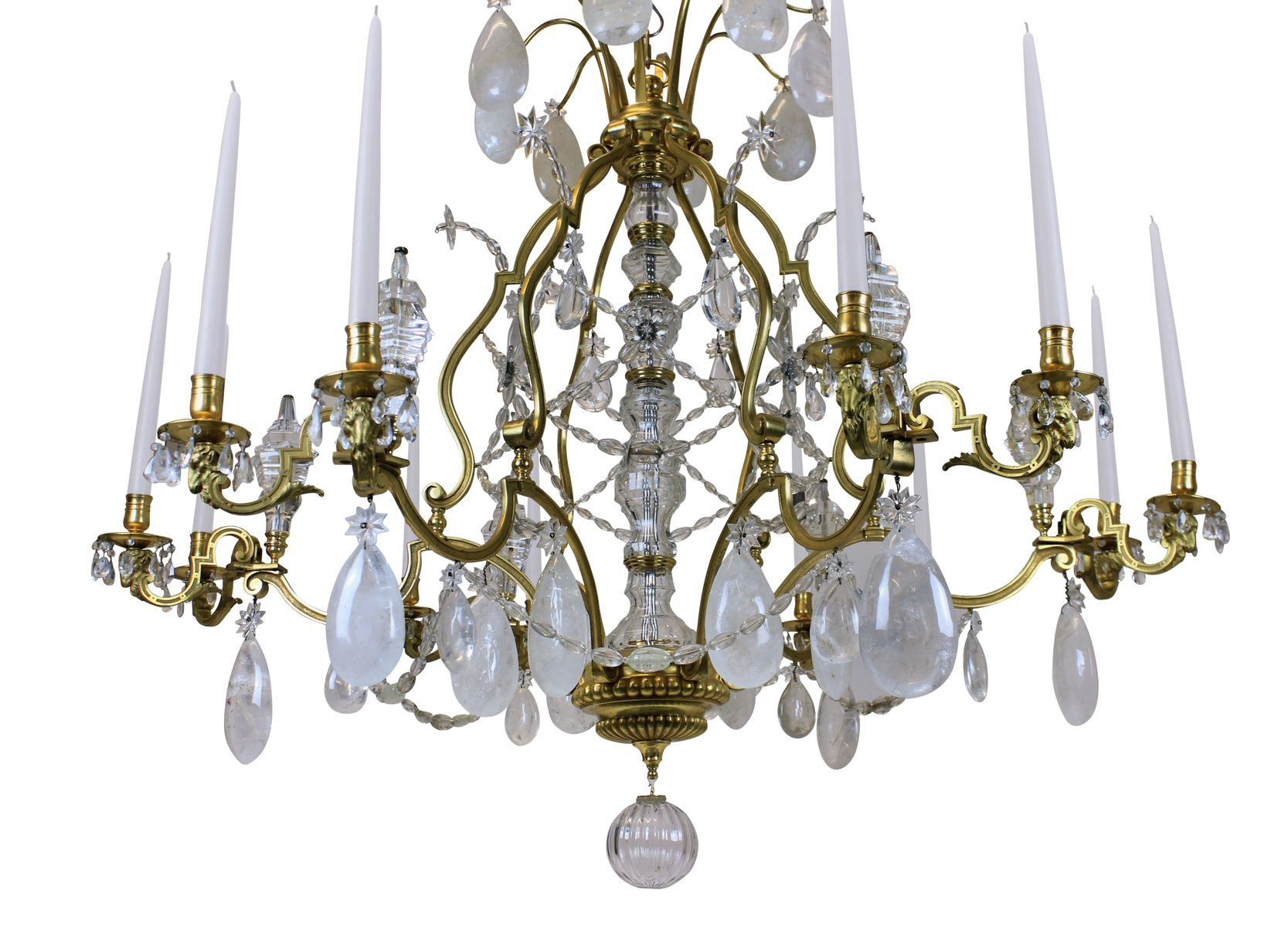 Antique Louis XIV Gilt Bronze & Rock Crystal Chandelier for