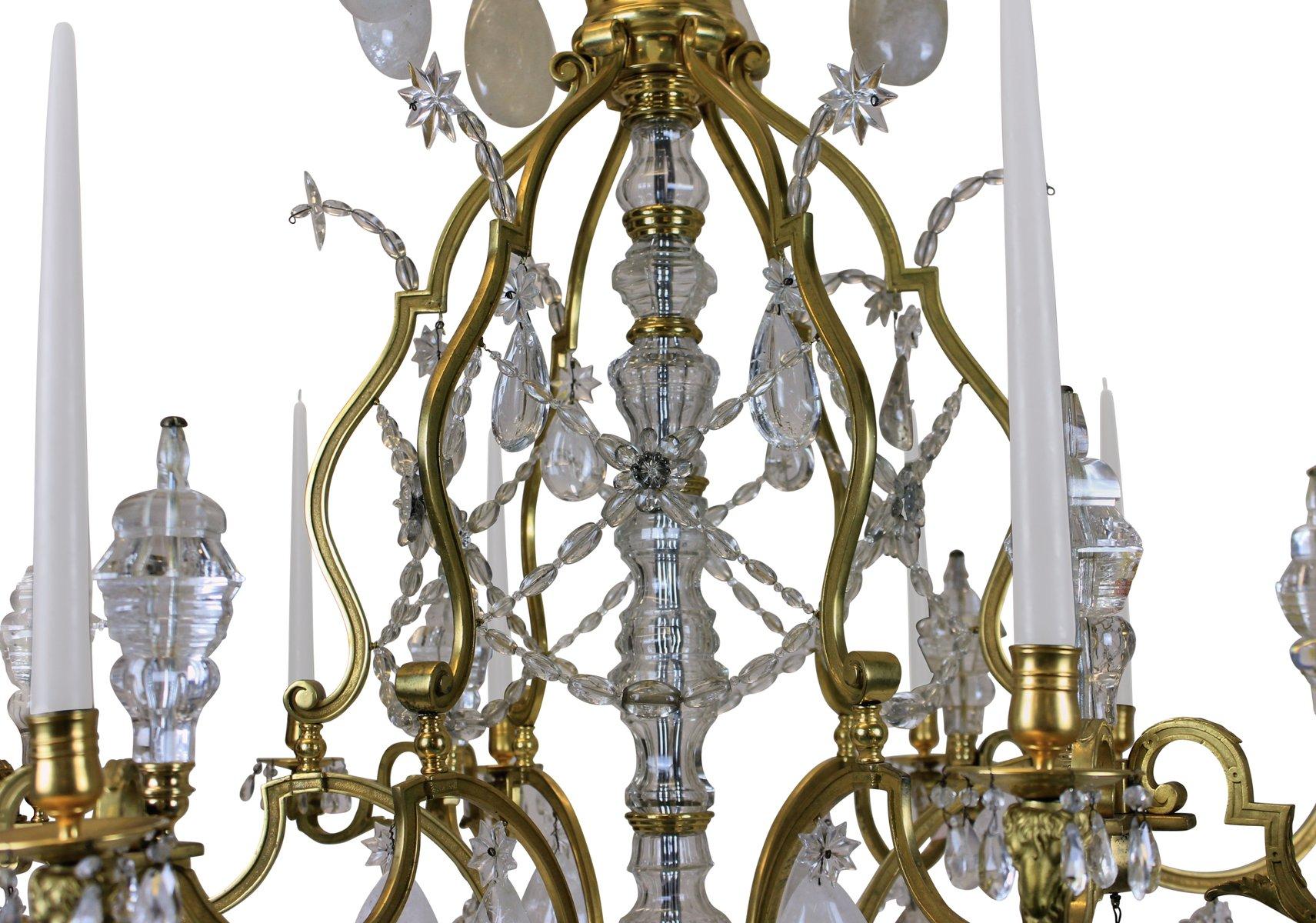 groer antiker ludwig xiv kronleuchter aus vergoldeter bronze bergkristall - Bronze Kronleuchter