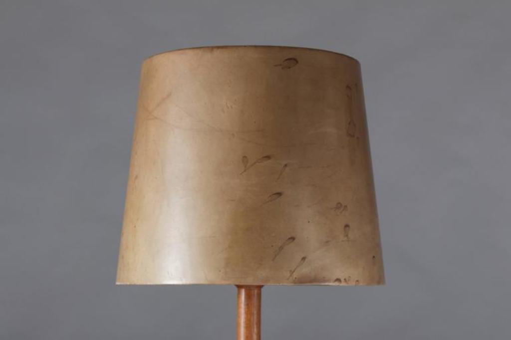 schwedische stehlampe mit schirm aus leder von uno sten kristiansson f r luxus bei pamono kaufen. Black Bedroom Furniture Sets. Home Design Ideas