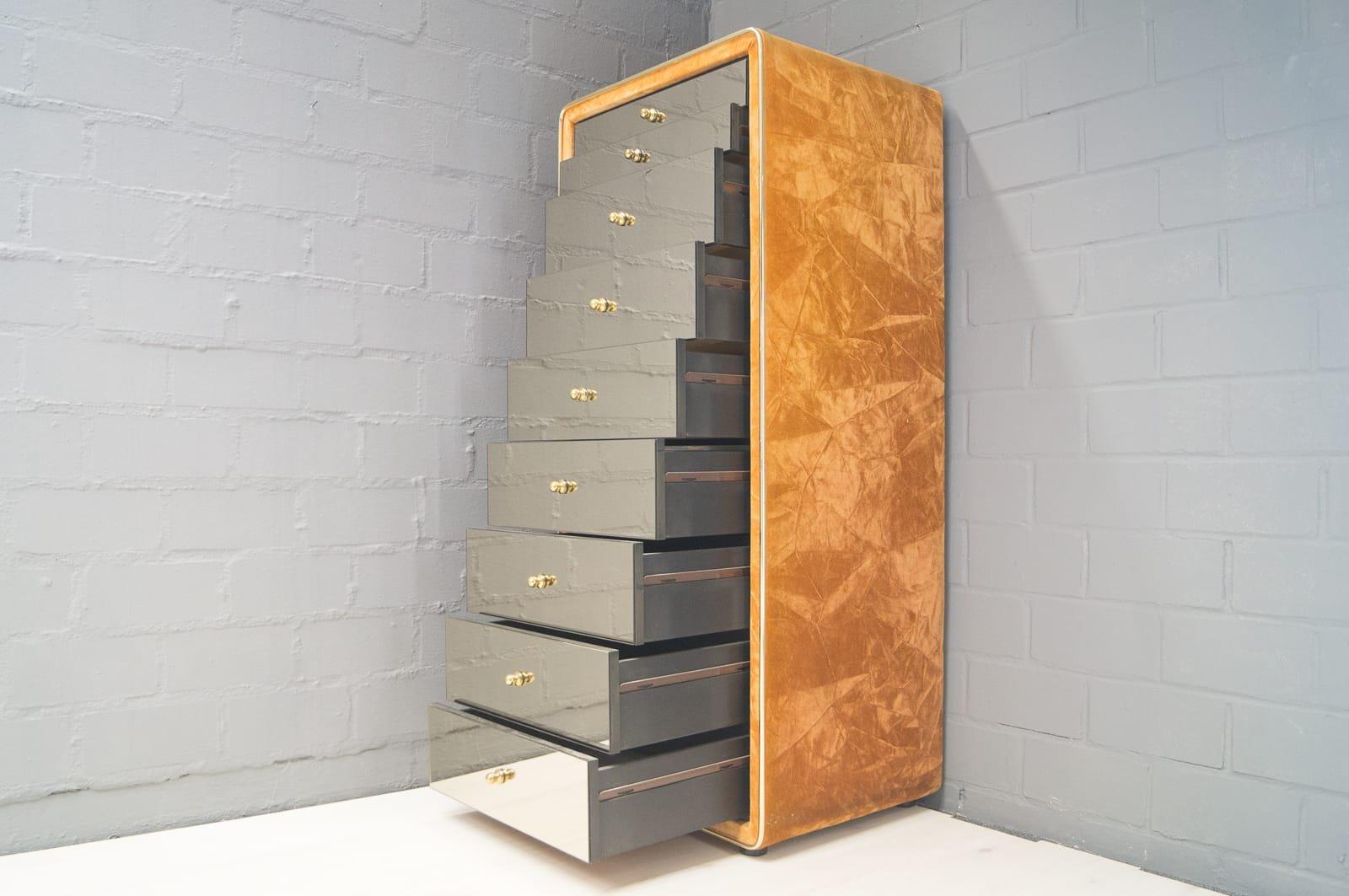 verspiegelte kommode mit acht schubladen von ruf international 1960er bei pamono kaufen. Black Bedroom Furniture Sets. Home Design Ideas