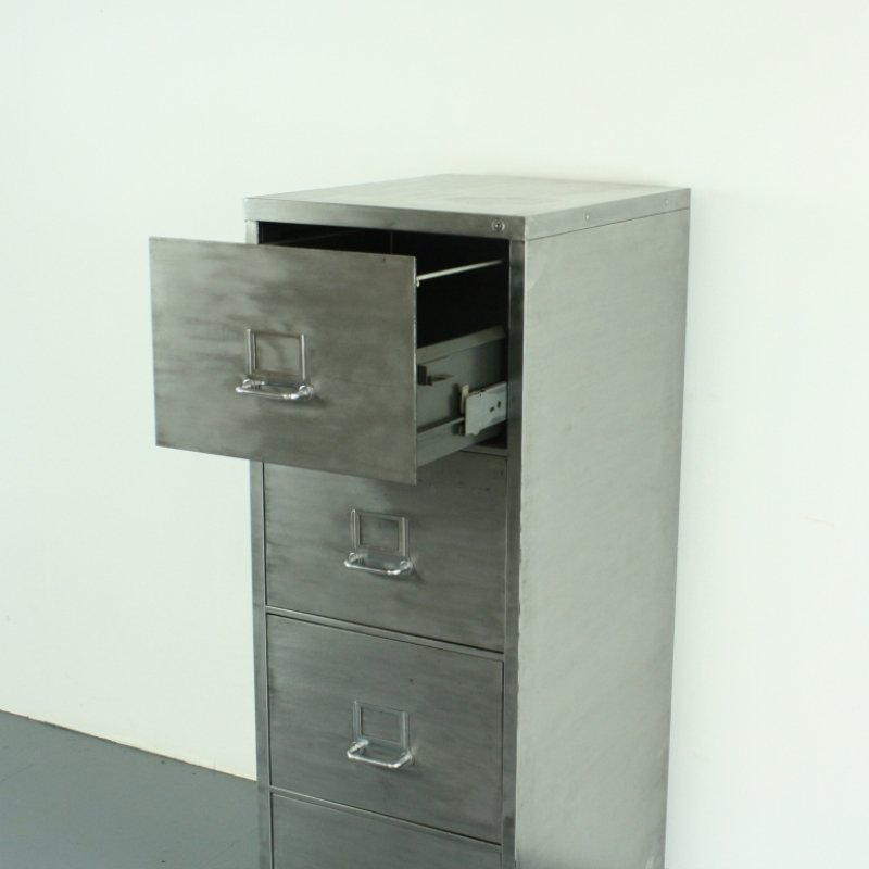 Vintage Polished Steel 4 Drawer Filing Cabinet 6. $1,050.00. Price Per Piece